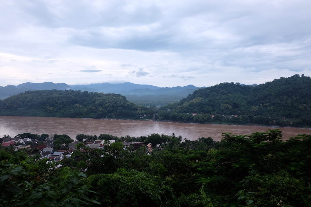 The Mekong and the town of Luang Prabang in the trees in the foreground