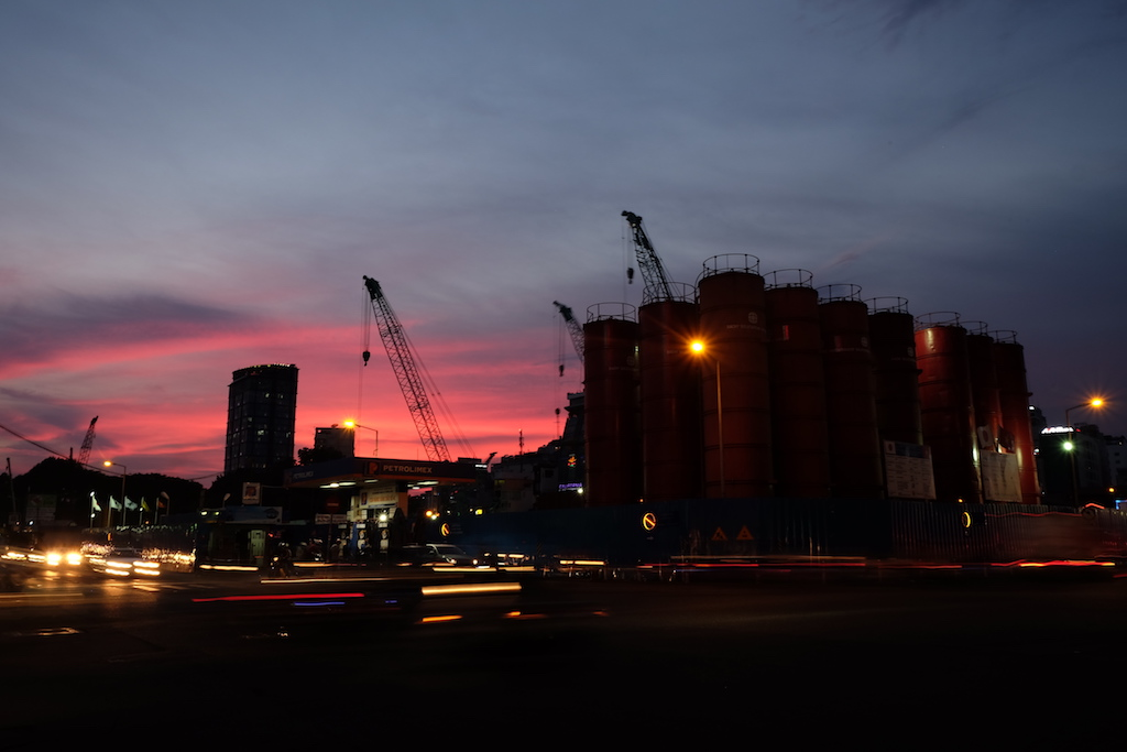 Sunset over the new train line site