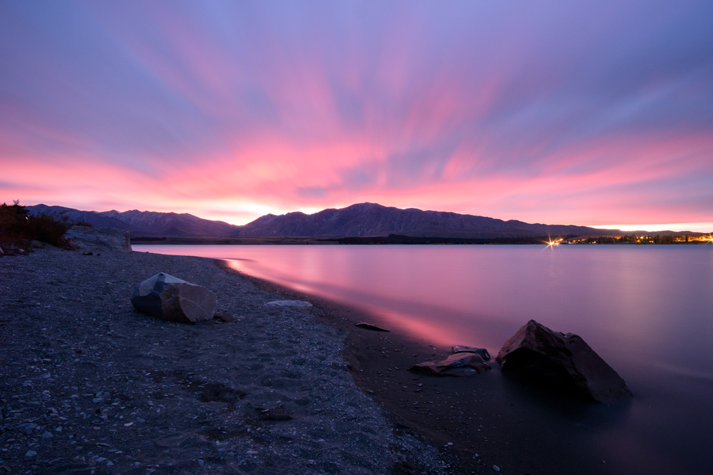 Signs of colour 1 hour before sunrise, Lake Tekapo