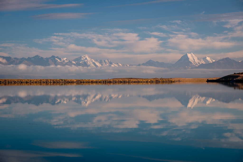 Mt Sefton to Mt Cook reflected in the Tekapo / Pukaki Canal