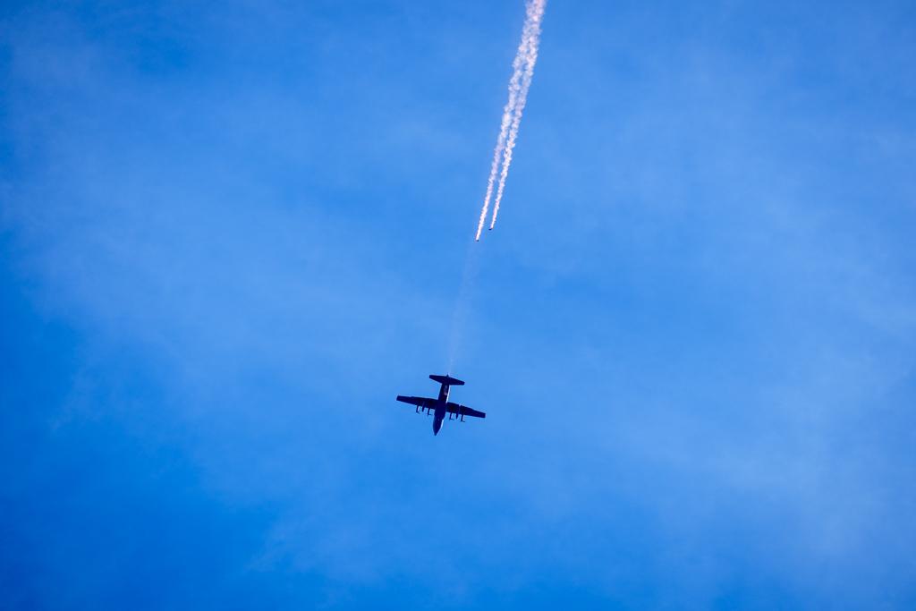 C-130H Hercules and Kiwi Blue parachute team