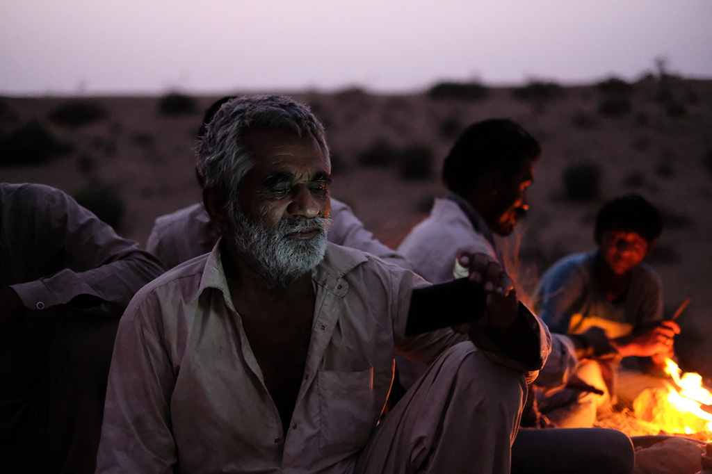 Camel driver watching videos in the Thar Desert