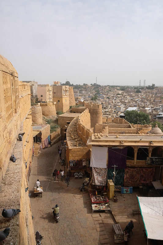 The view from Jaisalmer Palace looking down on the road up to the Fort