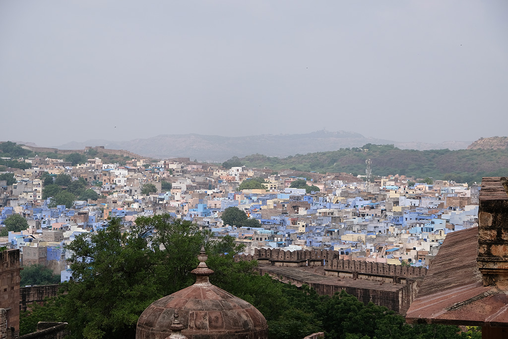 Looking down into the old Blue City from the fort