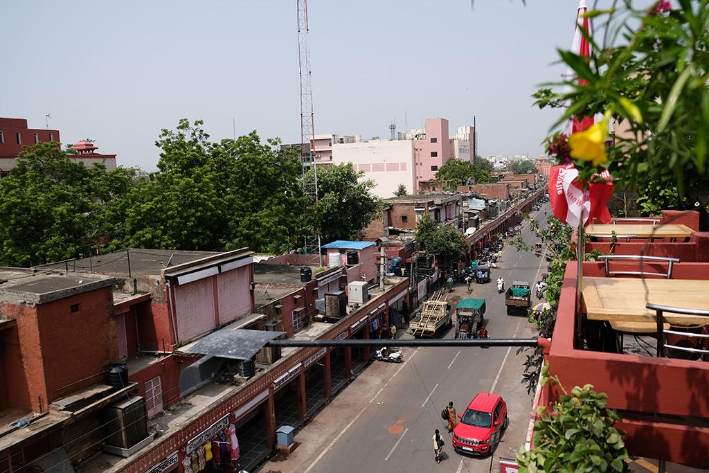 Looking down on Nehru Bazaar Rd