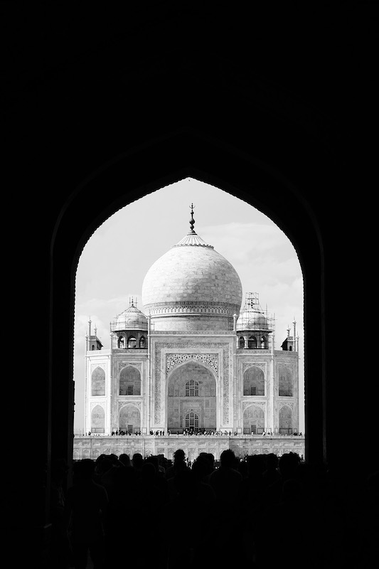 Looking through the Great Gate at the Taj Mahal