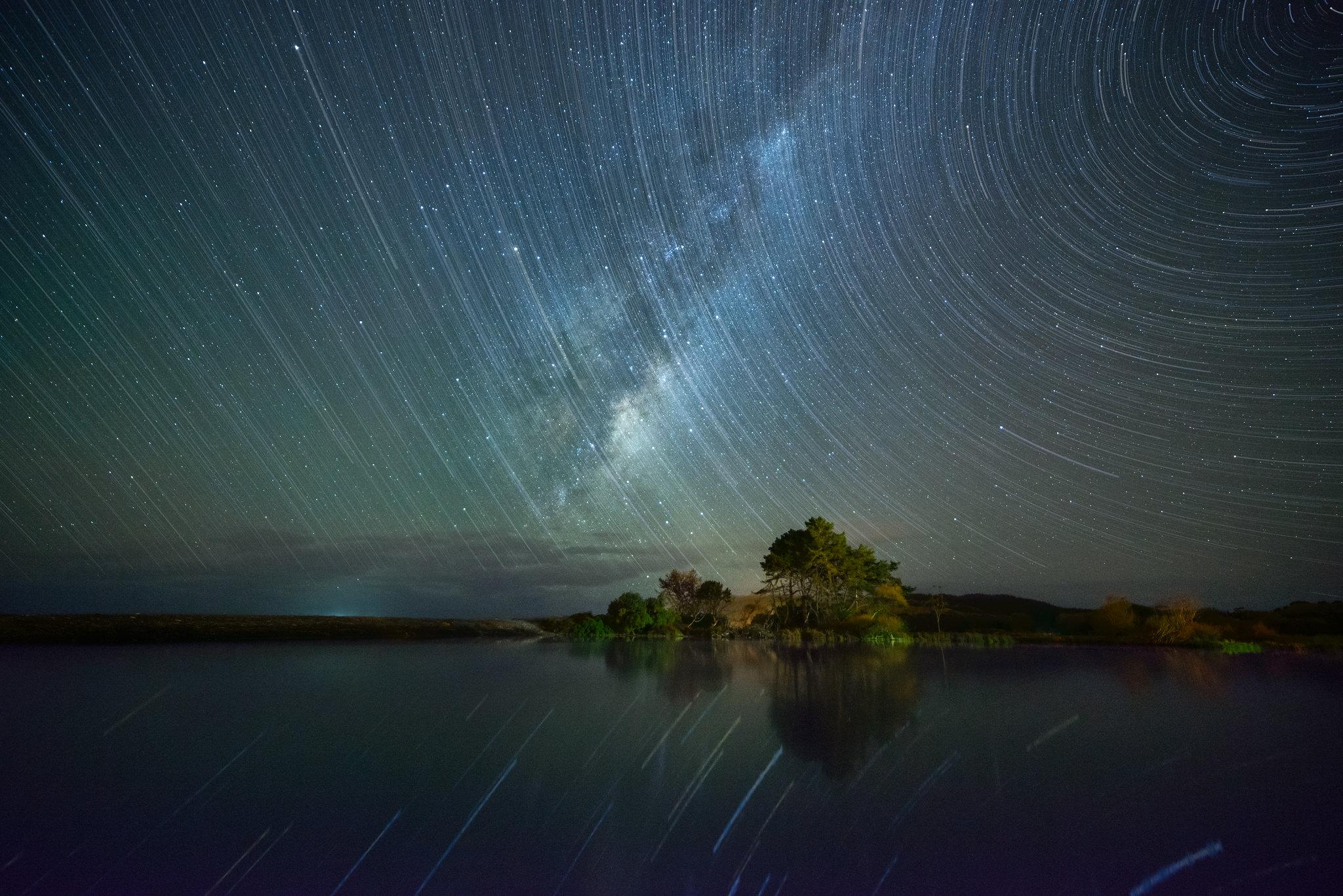 Star Trails over the Maraetotara River, Te Awanga