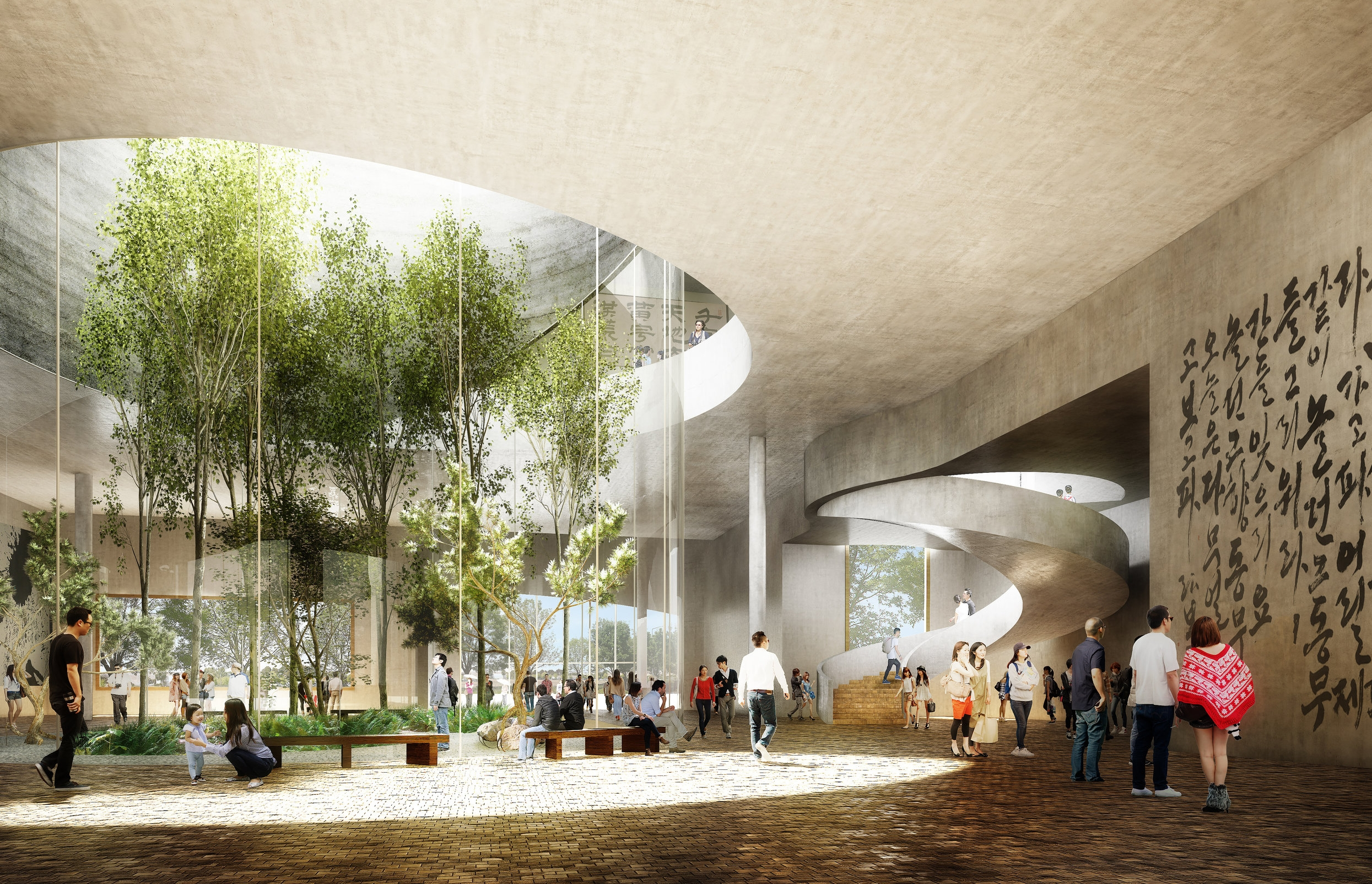 Ground Floor Hall and Central Courtyard  - View from breakout space; Image:  Nephew