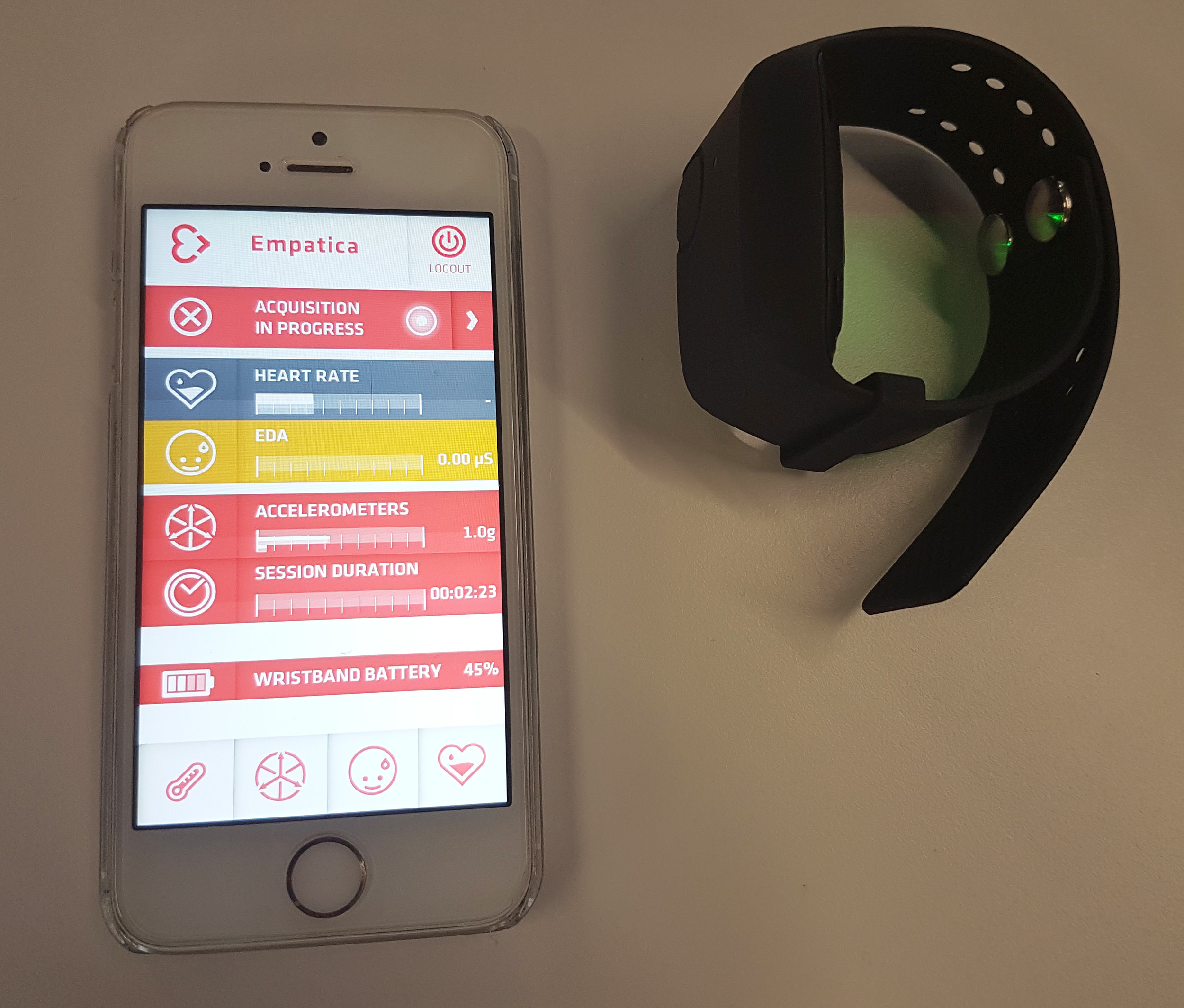 Empatica watch and app interface- measuring physiological processes that indicate arousal and activity levels.