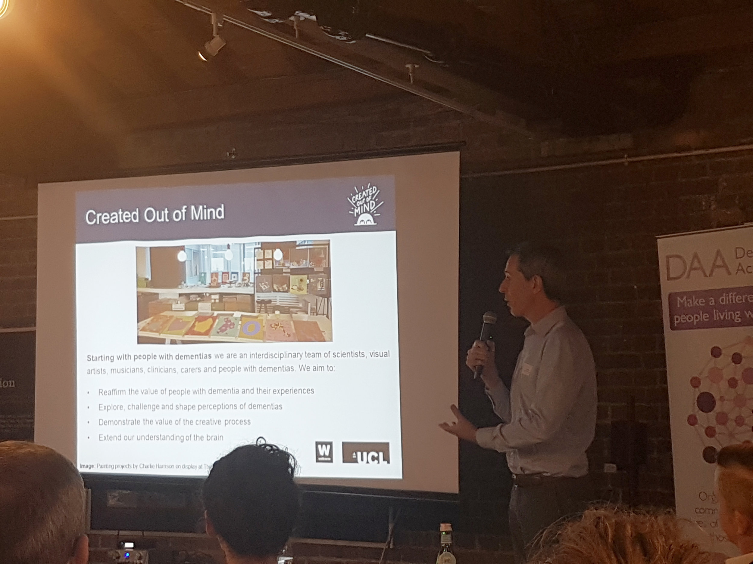 Julian West introduces Created Out of Mind at the Camden Dementia Action Alliance Conference at the London Canal Museum.