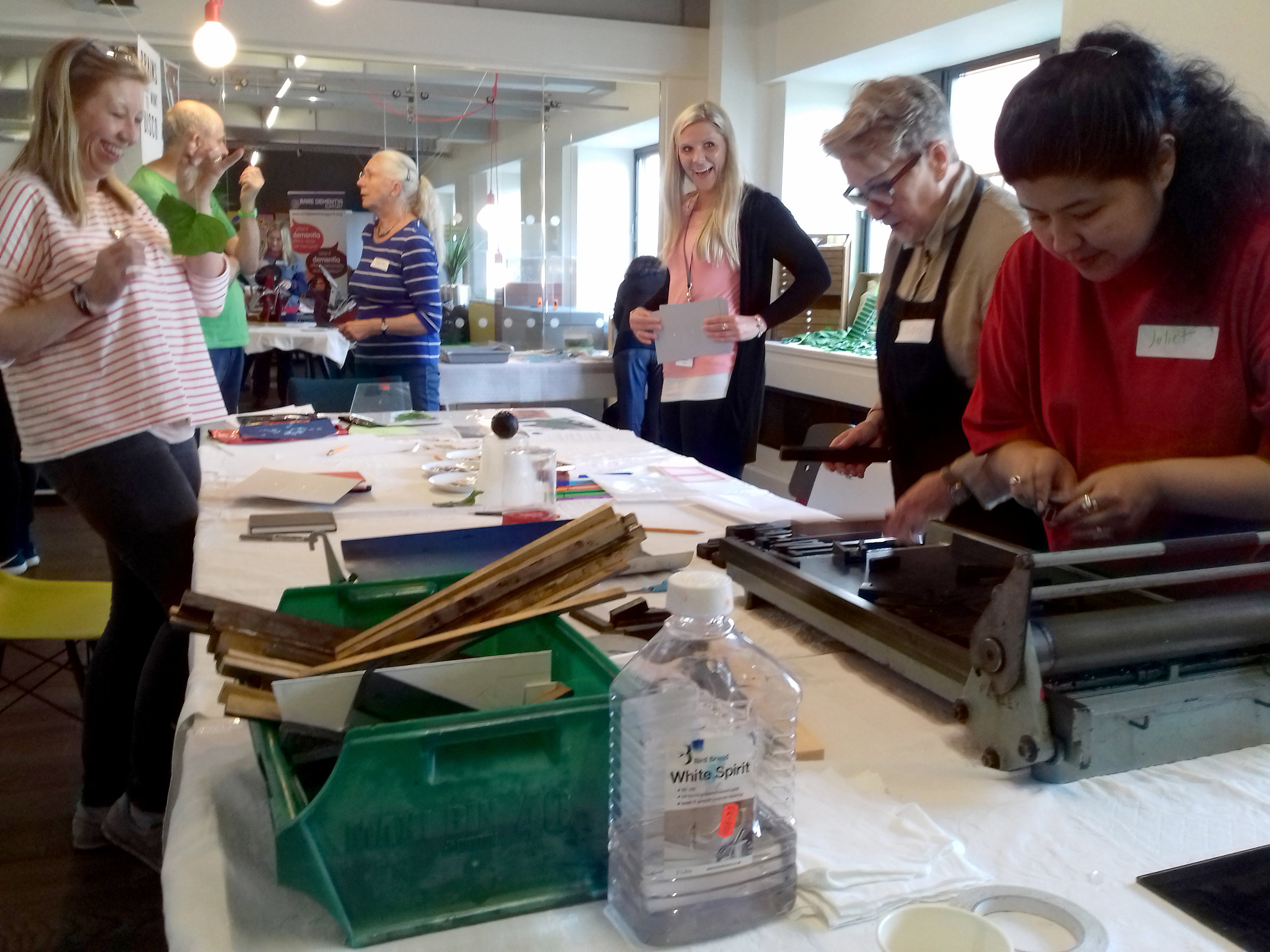 Laughing, learning and creating at the 'Words and Letters' printing workshop led by Charlie Murphy and Pixel Press.