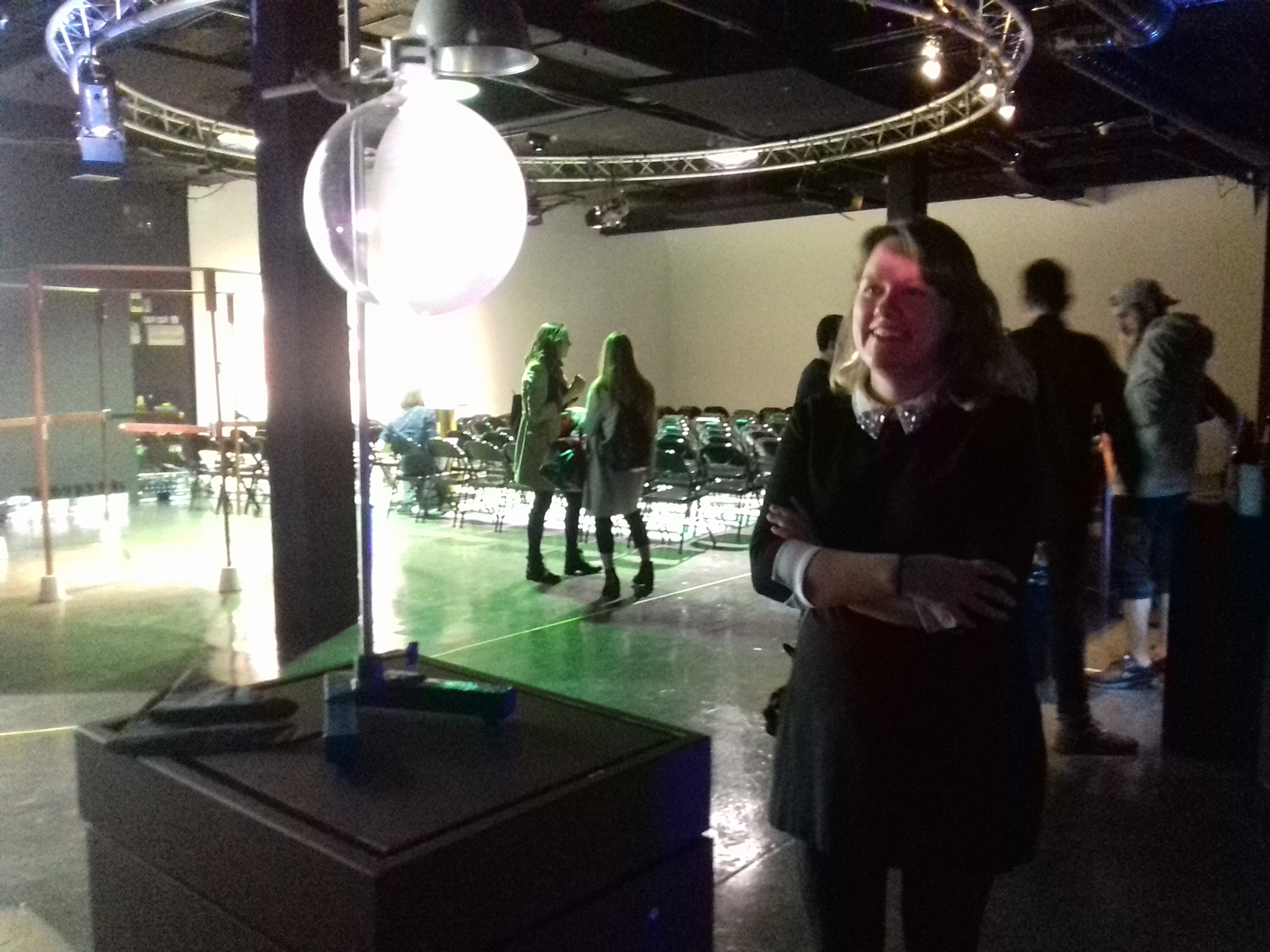 UCL dementia research Selina Wray watches her lab in action on Charlie Murphy's 'skin to mind' video installation. Image: Charlie Murphy/Created Out of Mind.
