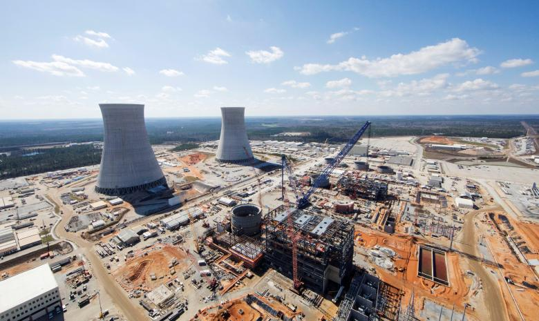 FILE PHOTO: The Vogtle Unit 3 and 4 site, being constructed by primary contactor Westinghouse, a business unit of Toshiba, near Waynesboro, Georgia, U.S. is seen in an aerial photo taken February 2017. Georgia Power/Handout via REUTERS  Source:  REUTERS