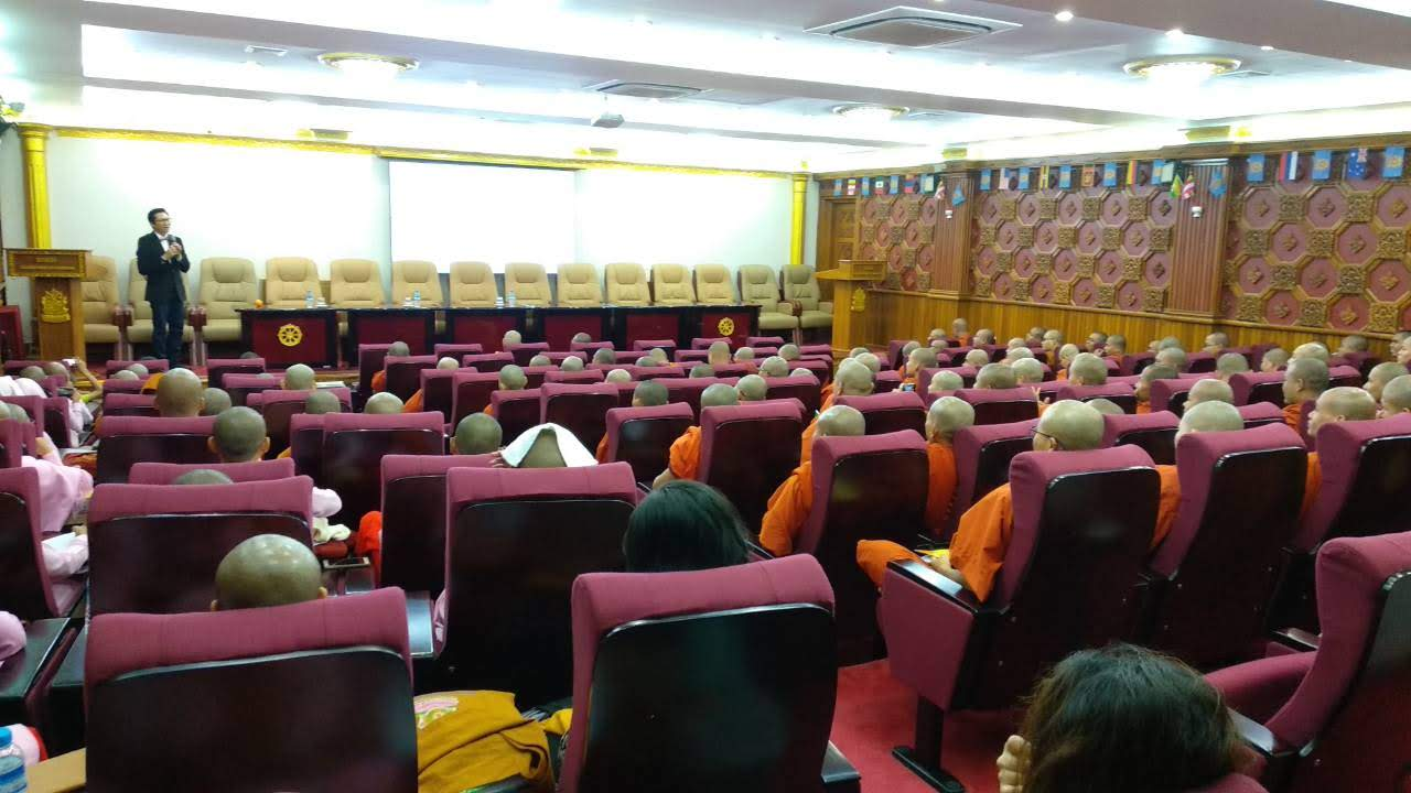 Dr. Kyne delivering a talk on disaster resiliency and study opportunities in disaster studies MA Program at utrgv to a group of monks and nuns at the sitagu international buddhist academy in Yangon, myanmar on july 9, 2019.