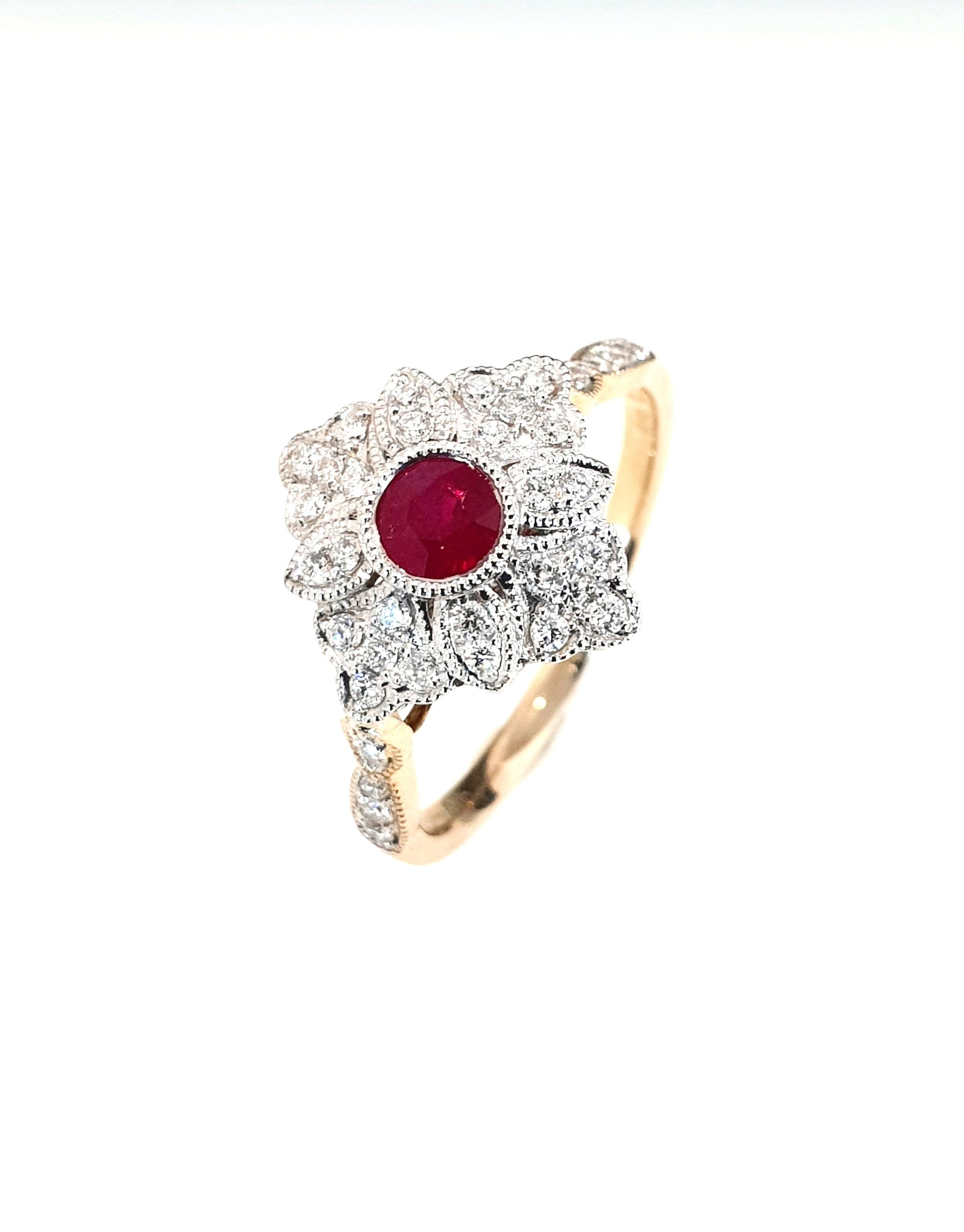 9ct Yellow Gold Ruby .33ct & Diamond .28ct Ring  Cluster Ring  Stock Code: G1953  £1050