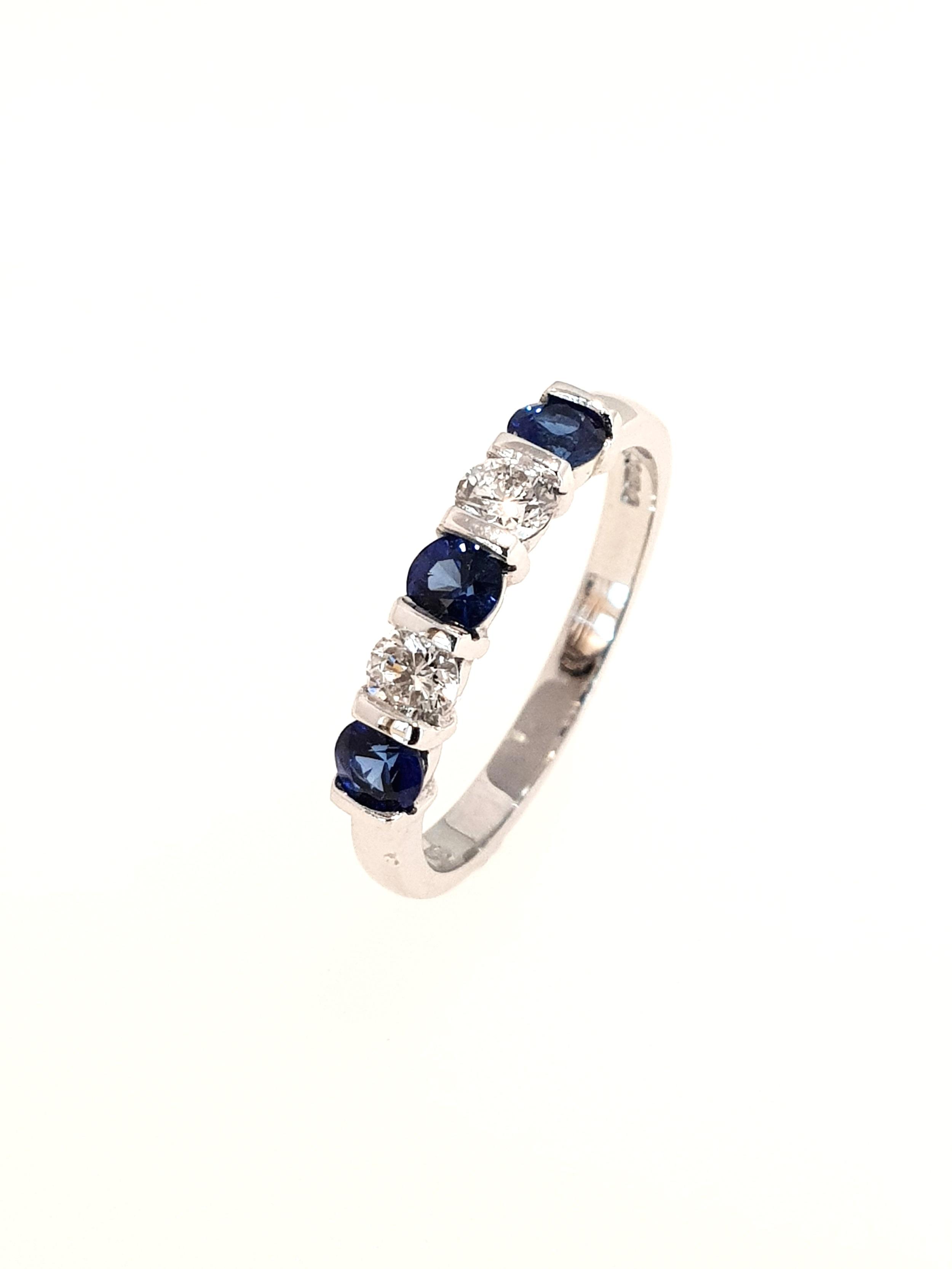 18ct White Gold Sapphire & Diamond Ring  .30ct, G, SI1 (Dia) & .55ct (Saph)  Stock Code: N8526  £1575