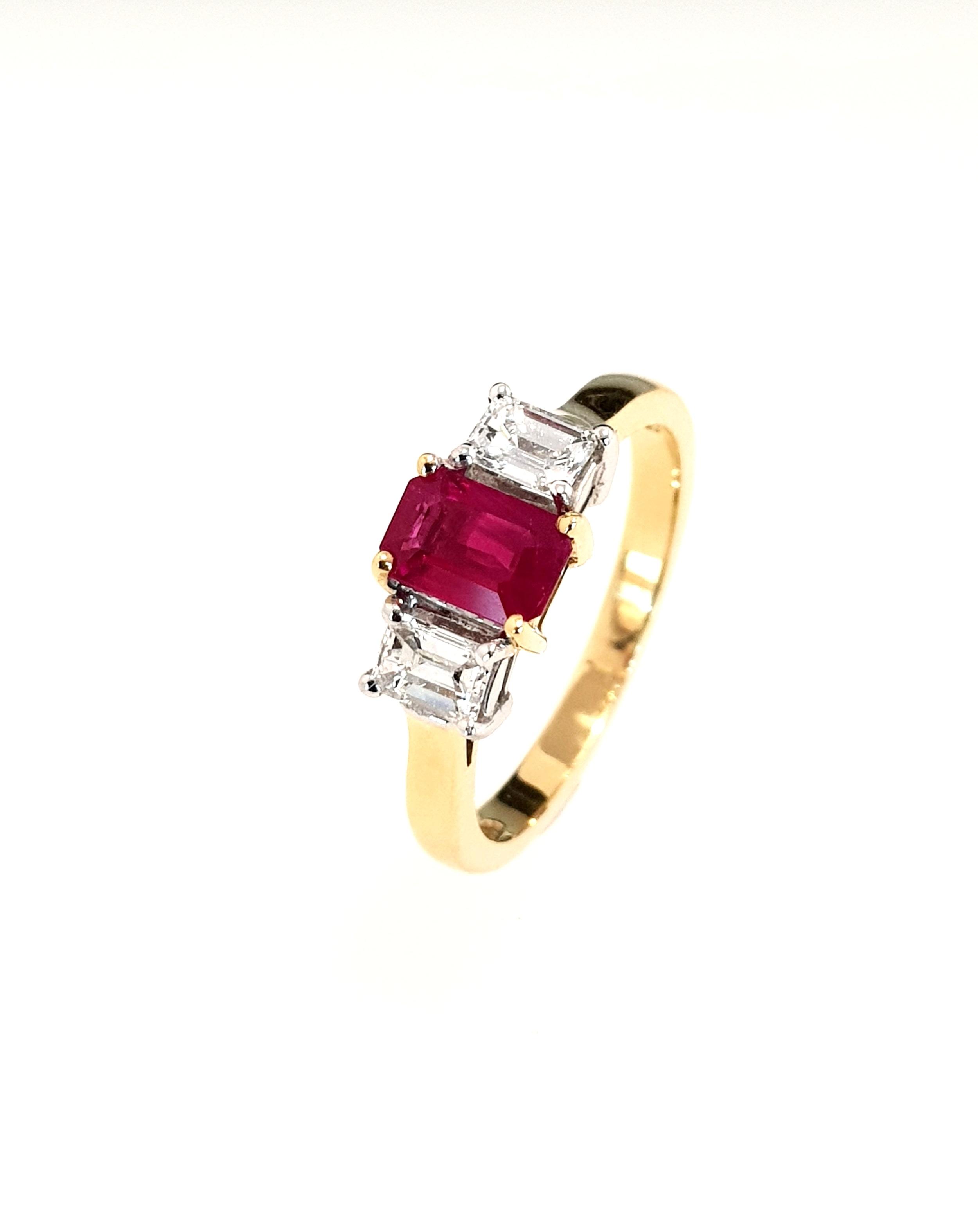 18ct Yellow Gold Ruby (.50ct) & Diamond Ring  Diamond: .40ct, G, Si1  Stock Code: N8511  £2100