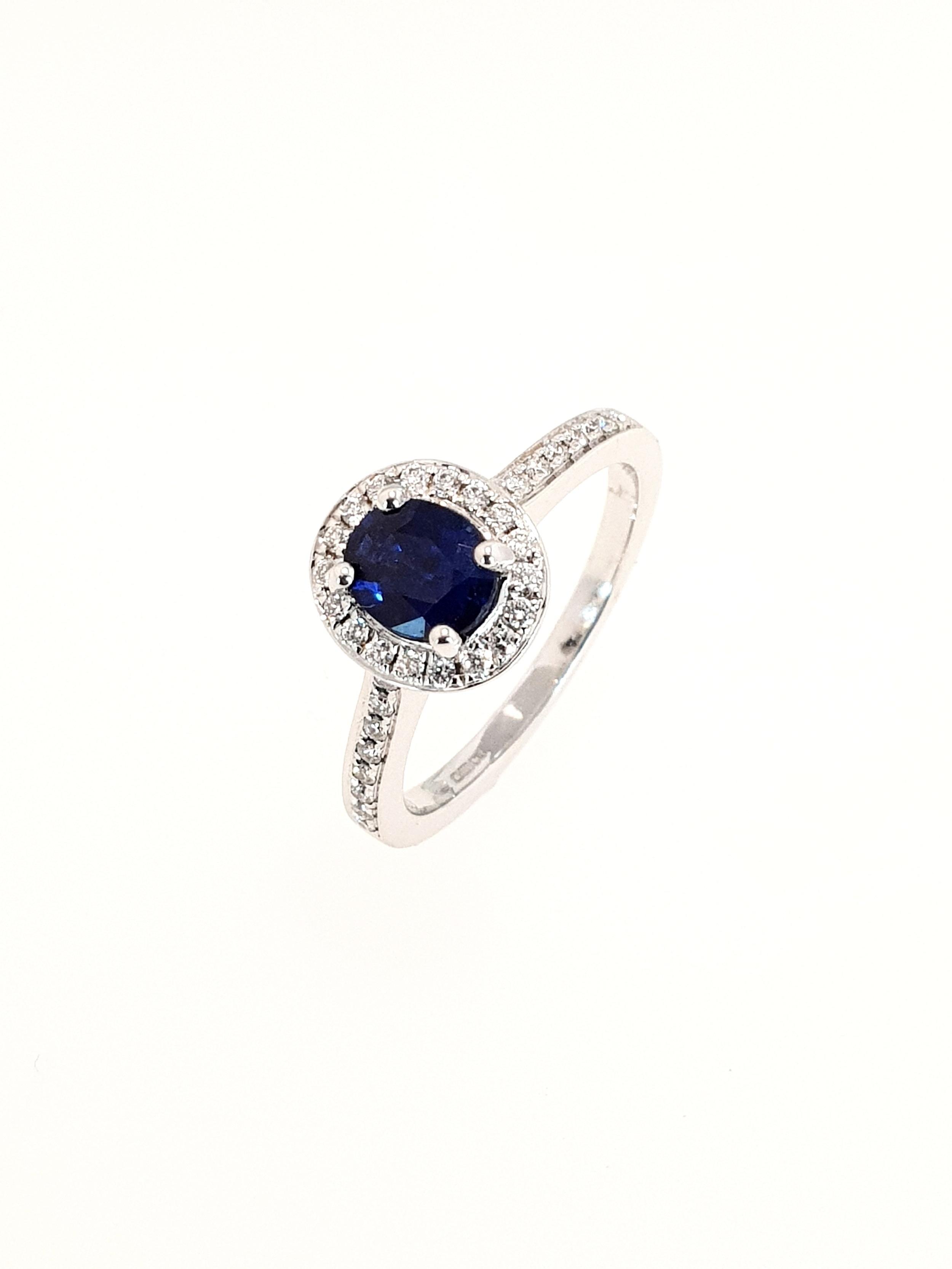 18ct White Gold Sapphire & Diamond Ring  Diamond: .19ct, G, Si1  Stock Code: N8945  £1900