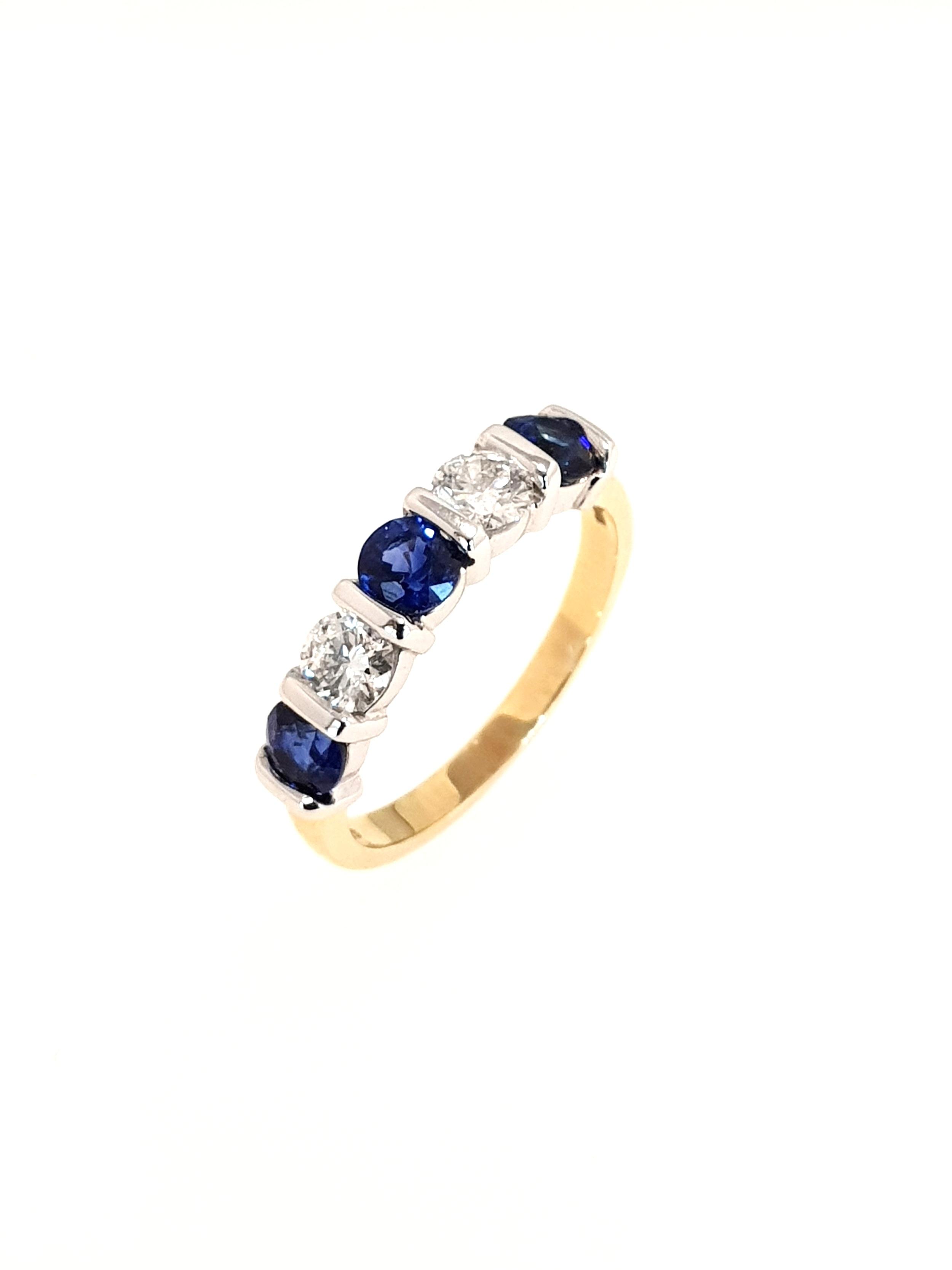 18ct Yellow Gold Sapphire & Diamond Ring  Diamond: .48ct, G, Si1  Stock Code: N8947  £3675