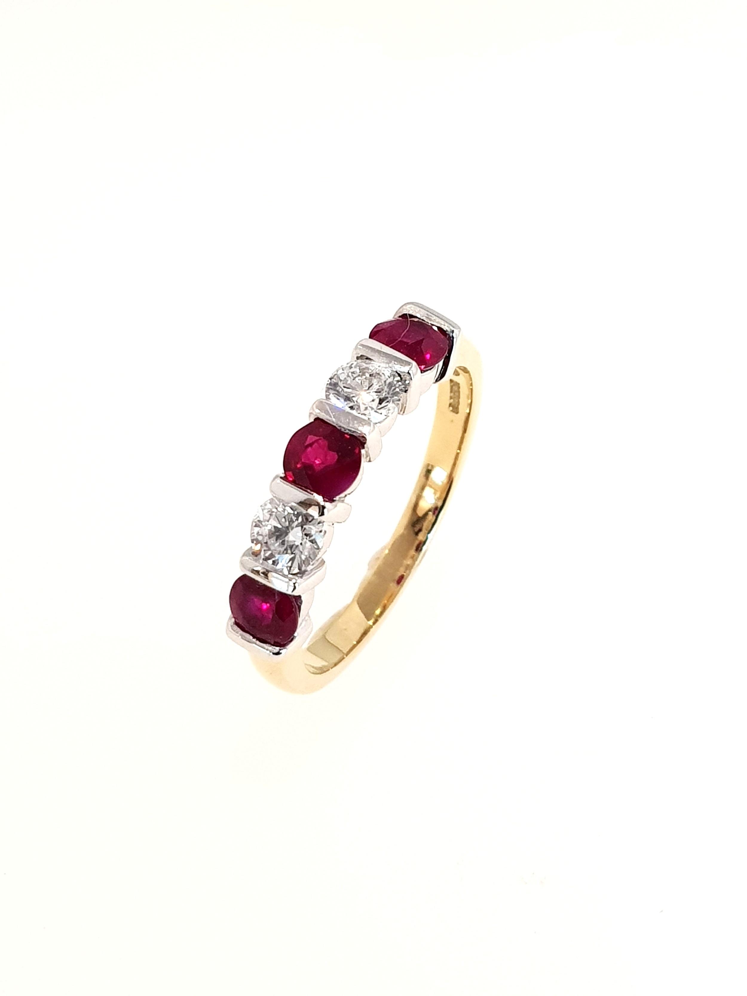 18ct Yellow Gold Ruby(.85ct) & Diamond Ring  Diamond: .41ct, G, Si1  Stock Code: N8980  £2100