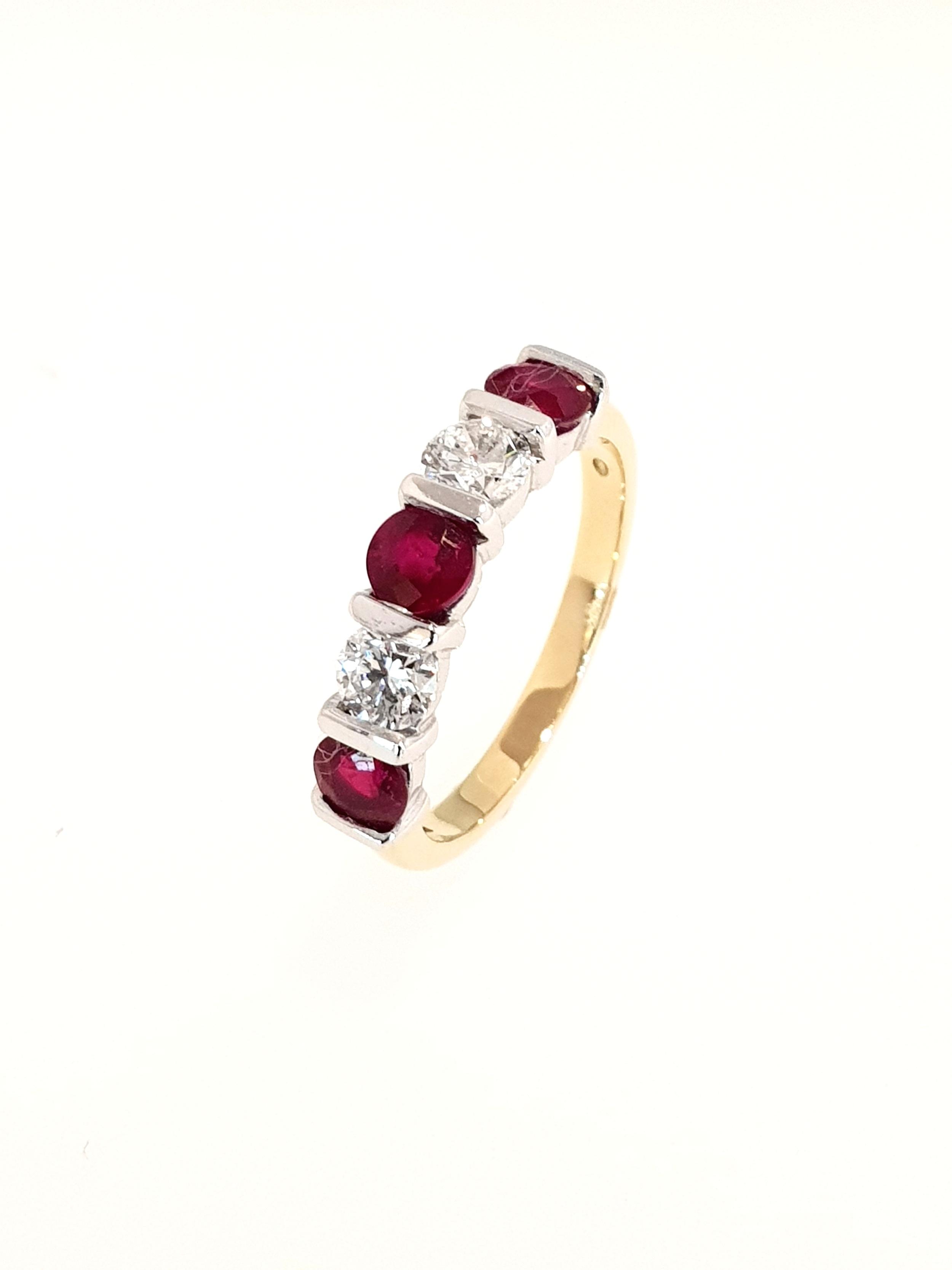 18ct Yellow Gold Ruby(1.15ct) & Diamond Ring  Diamond: .51ct, G, Si1  Stock Code: N8981  £3650