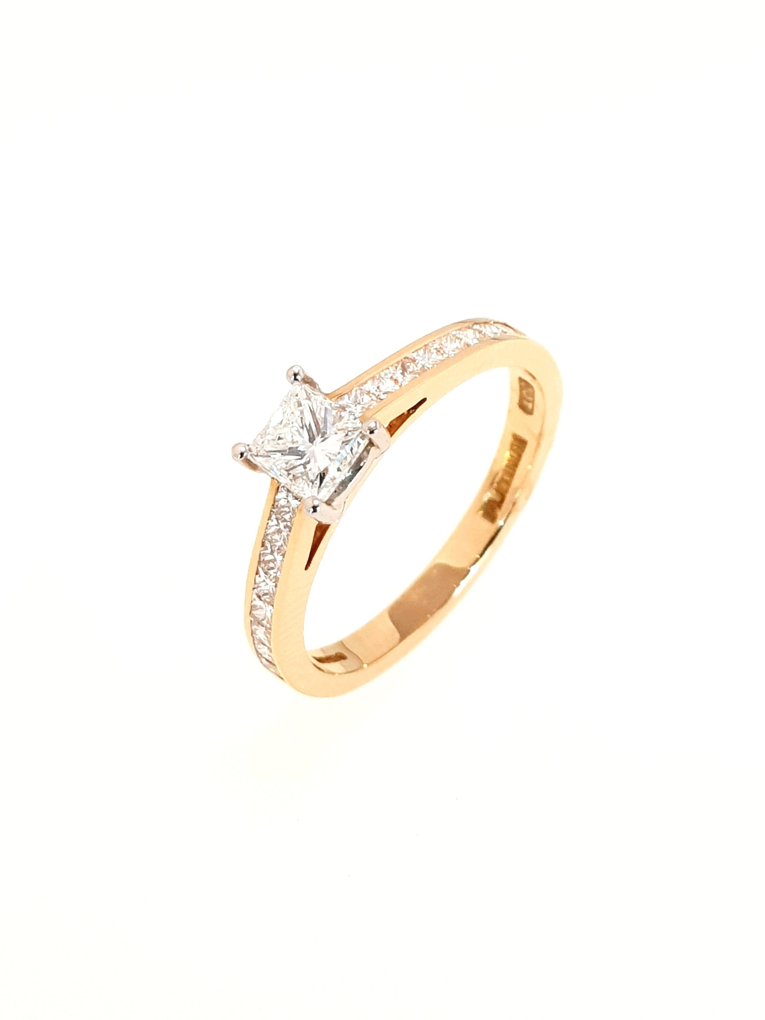 18ct Rose Gold Diamond Ring, Princess Cut  .39ct, G, Si1  Stock Code: N8729  £2700