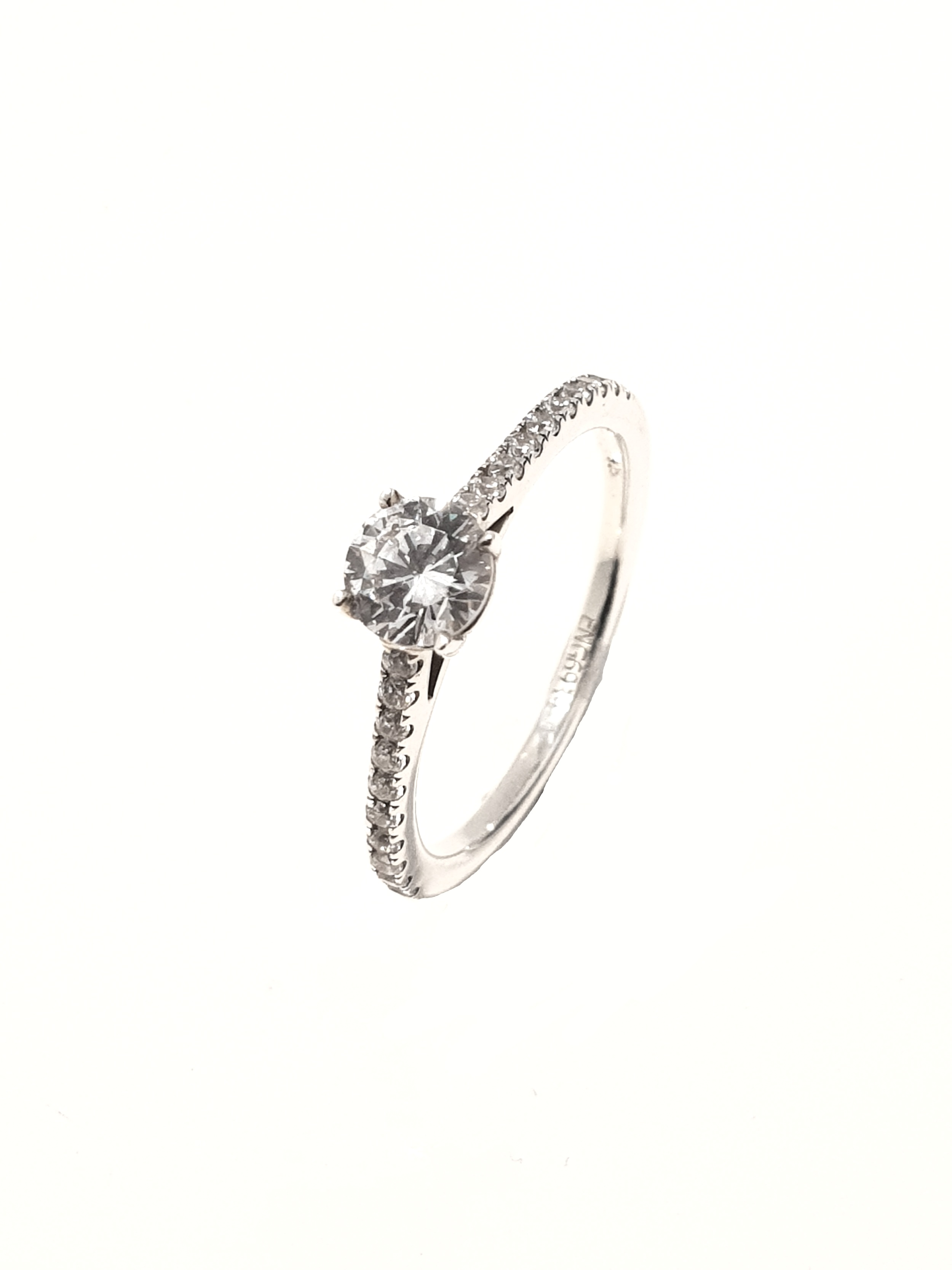 Raphael Collection, Brilliant 4 Claw Set Ring  .70ct, G, Si1 + .20ct shoulders.  Stock Code: Z1423  18ct White Gold: £2775  Platinum: £2900  Made To Order, approx 3 weeks.