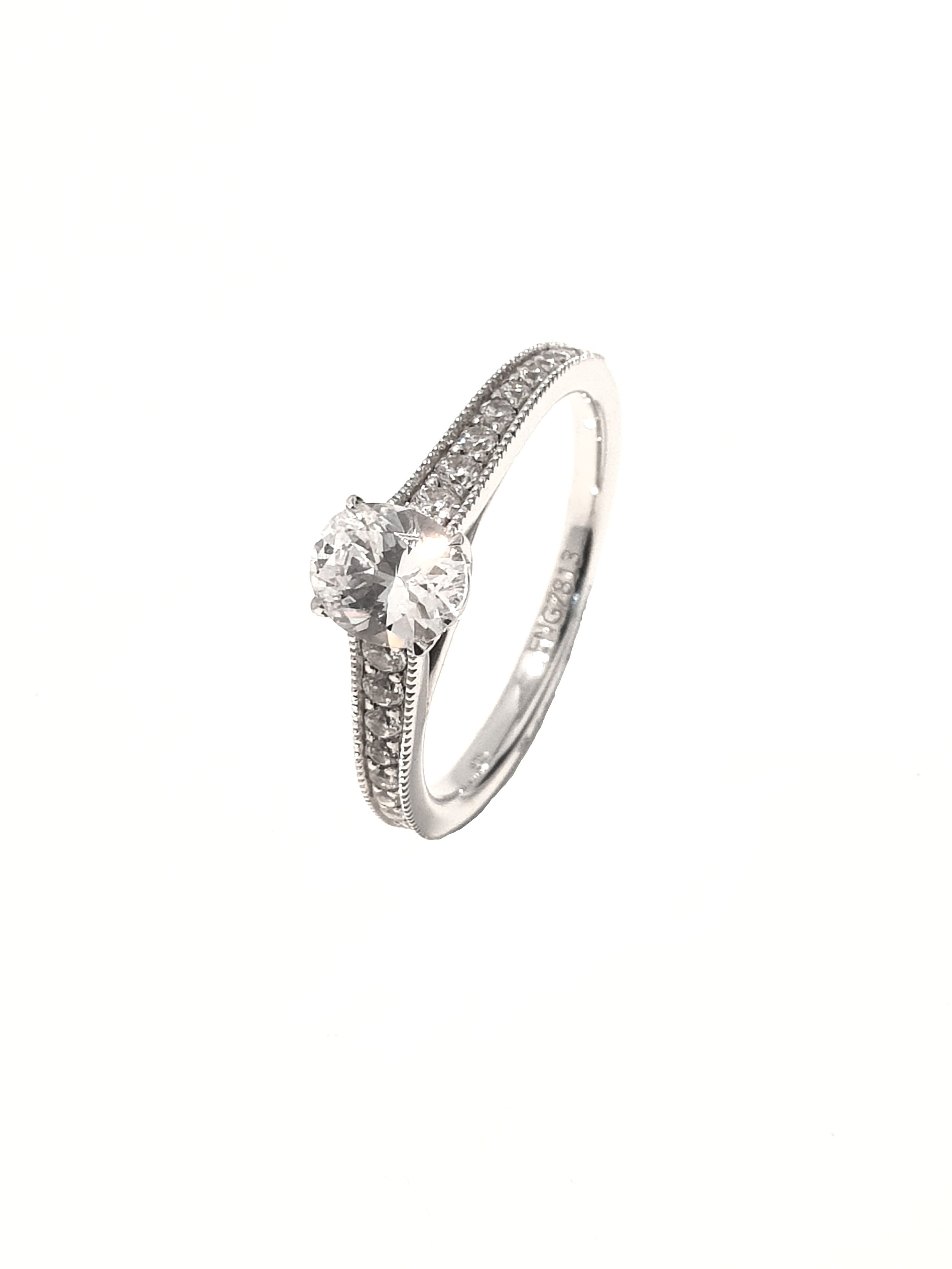 Raphael Collection, Oval 4 Claw Diamond Set Ring  .75ct, G, SI1 + .25ct shoulders.  Stock Code: Z1419  18ct White Gold: £2850  Platinum: £3050  Made To Order, approx 3 weeks.