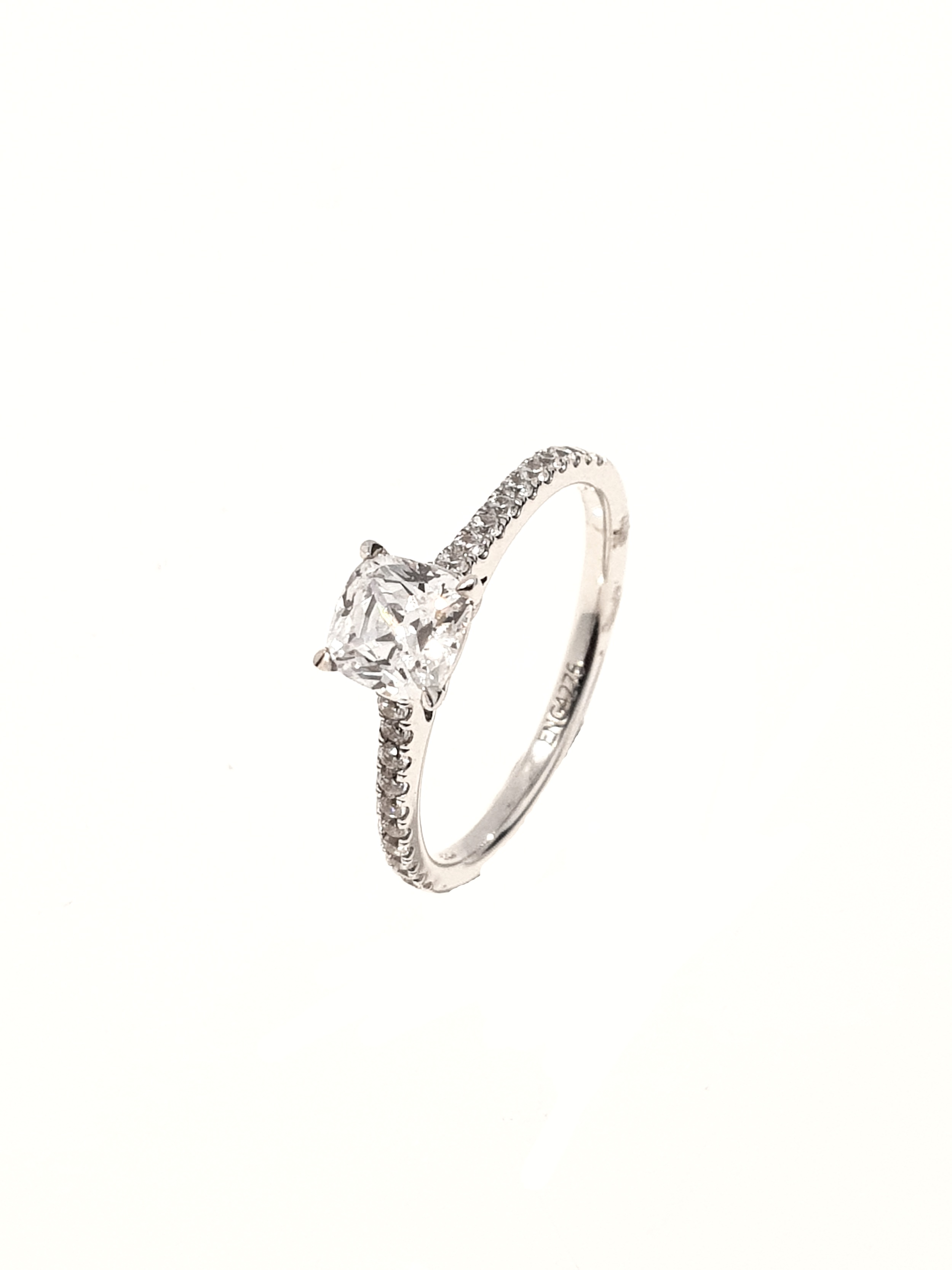 Raphael Collection, Cushion Diamond Set Ring  .70ct, G, SI1 + .20ct shoulders.  Stock Code: Z1411  18ct White Gold: £2450  Platinum: £2575  Made To Order, approx 3 weeks.
