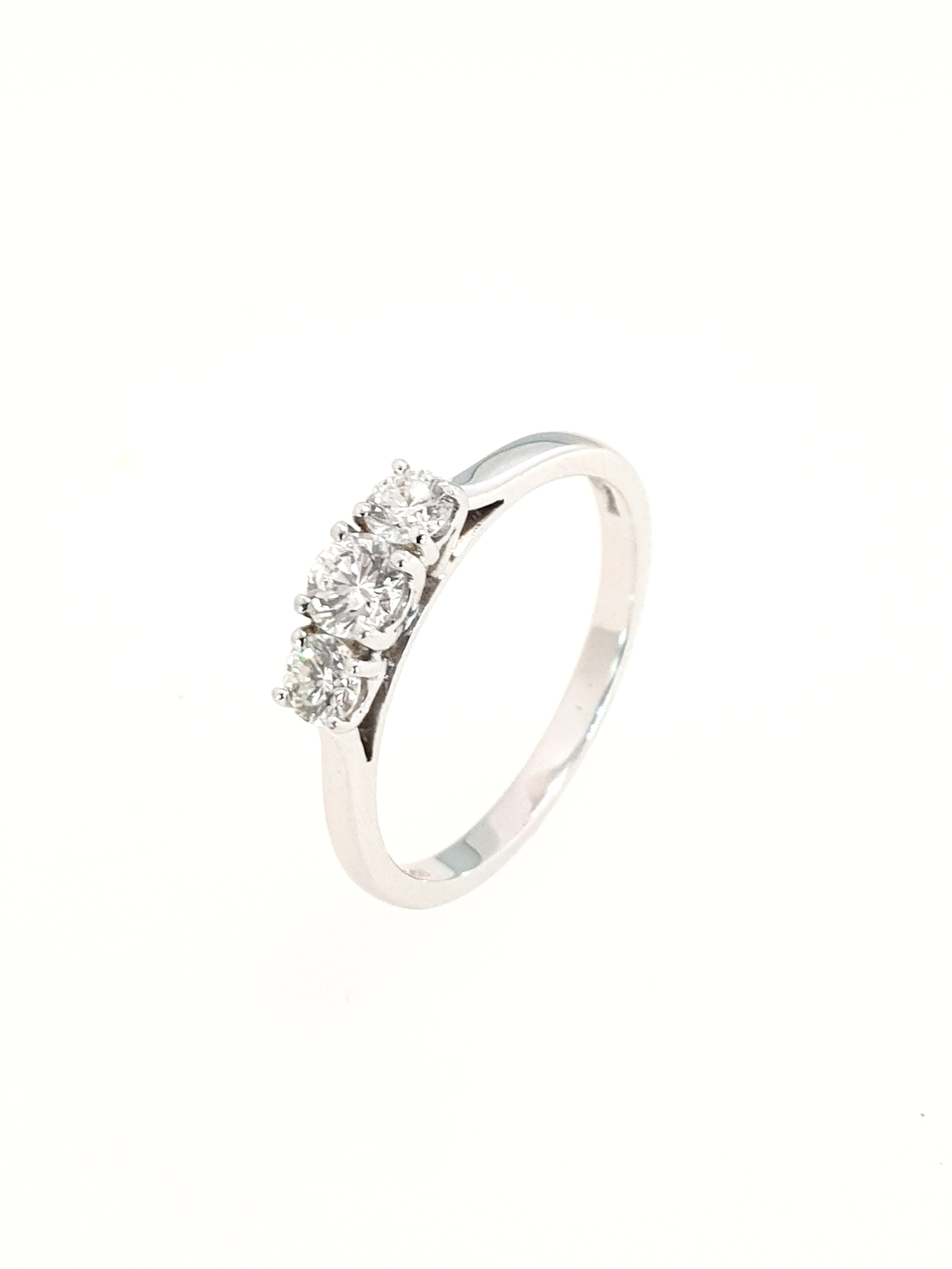 3 Stone Diamond Ring in White Gold  .50ct, G, Si1  Stock Code: N8286  £2200