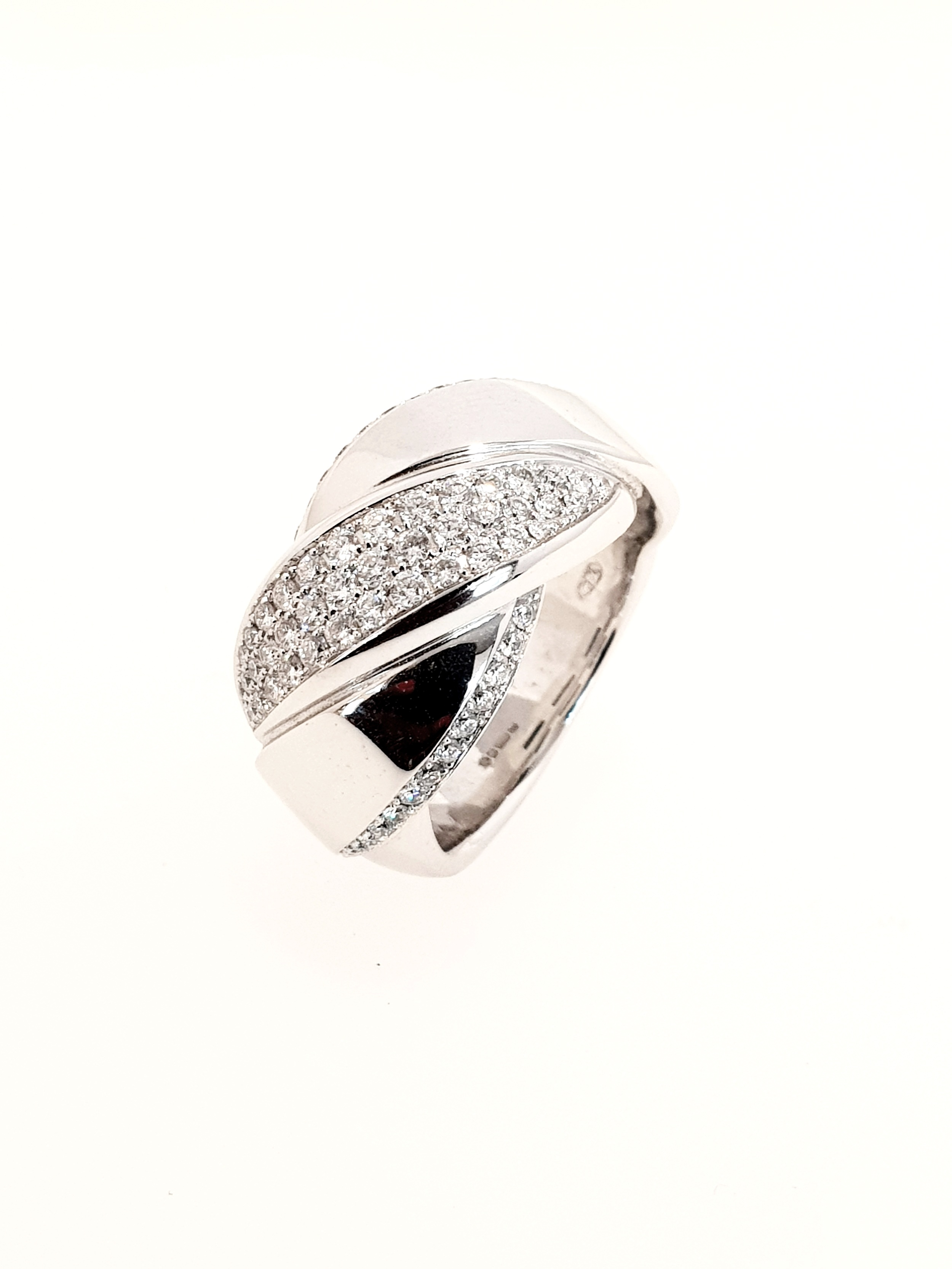 Cross Over Pave Set Ring  .61 Total Carat Weight  Stock Code: G1867  £2900