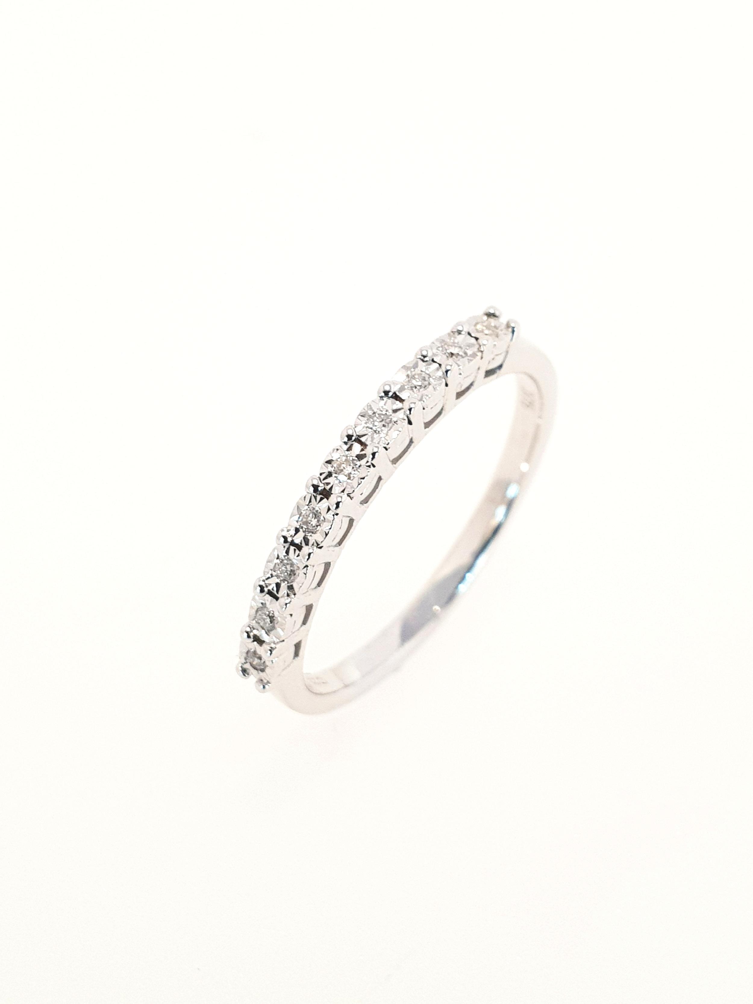Eternity 9 Stone Diamond Ring, 9ct White Gold  .13 Total Carat Weight  Stock Code: G1956  £460
