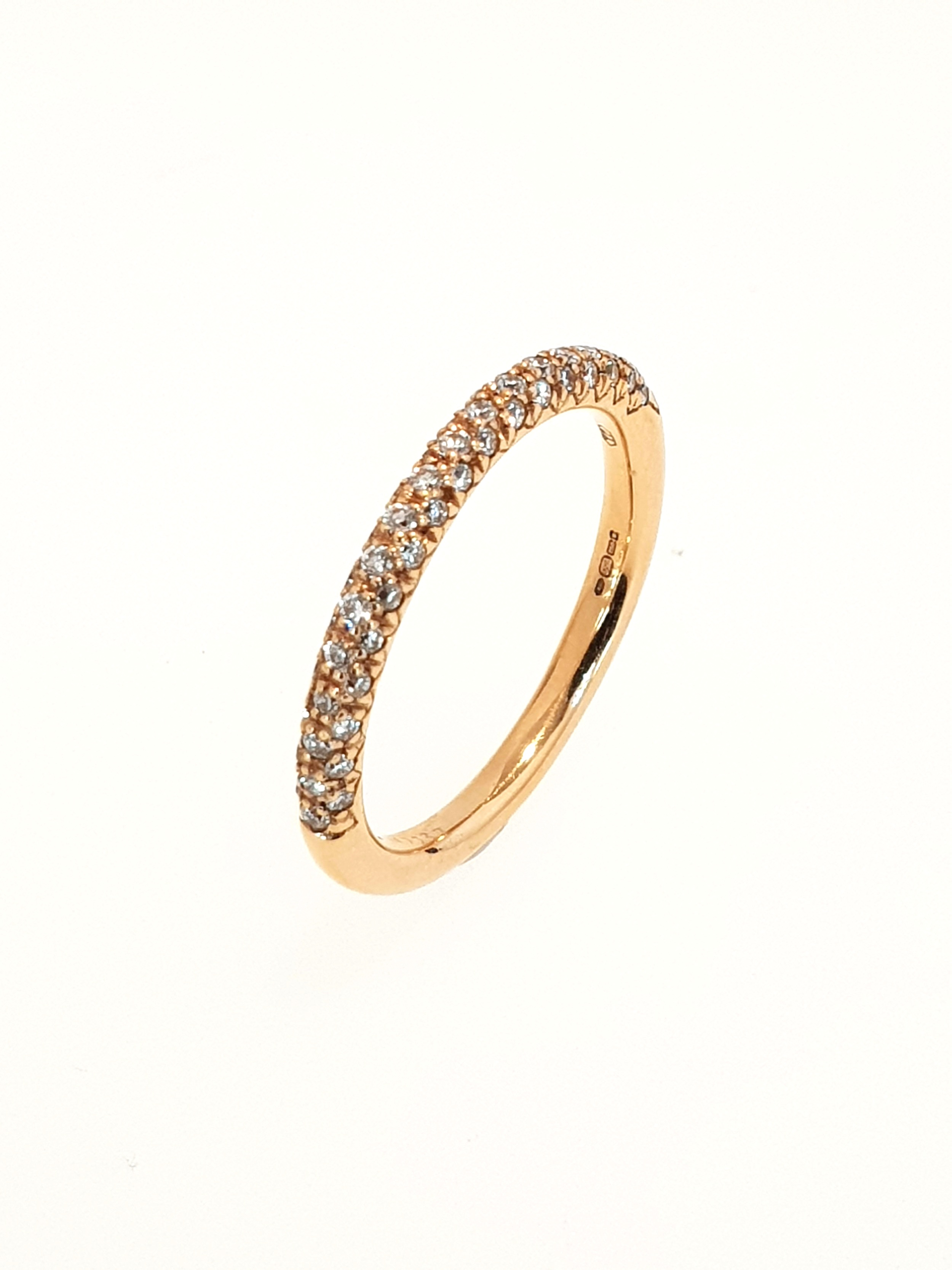 18ct Rose Gold Pave Set Band