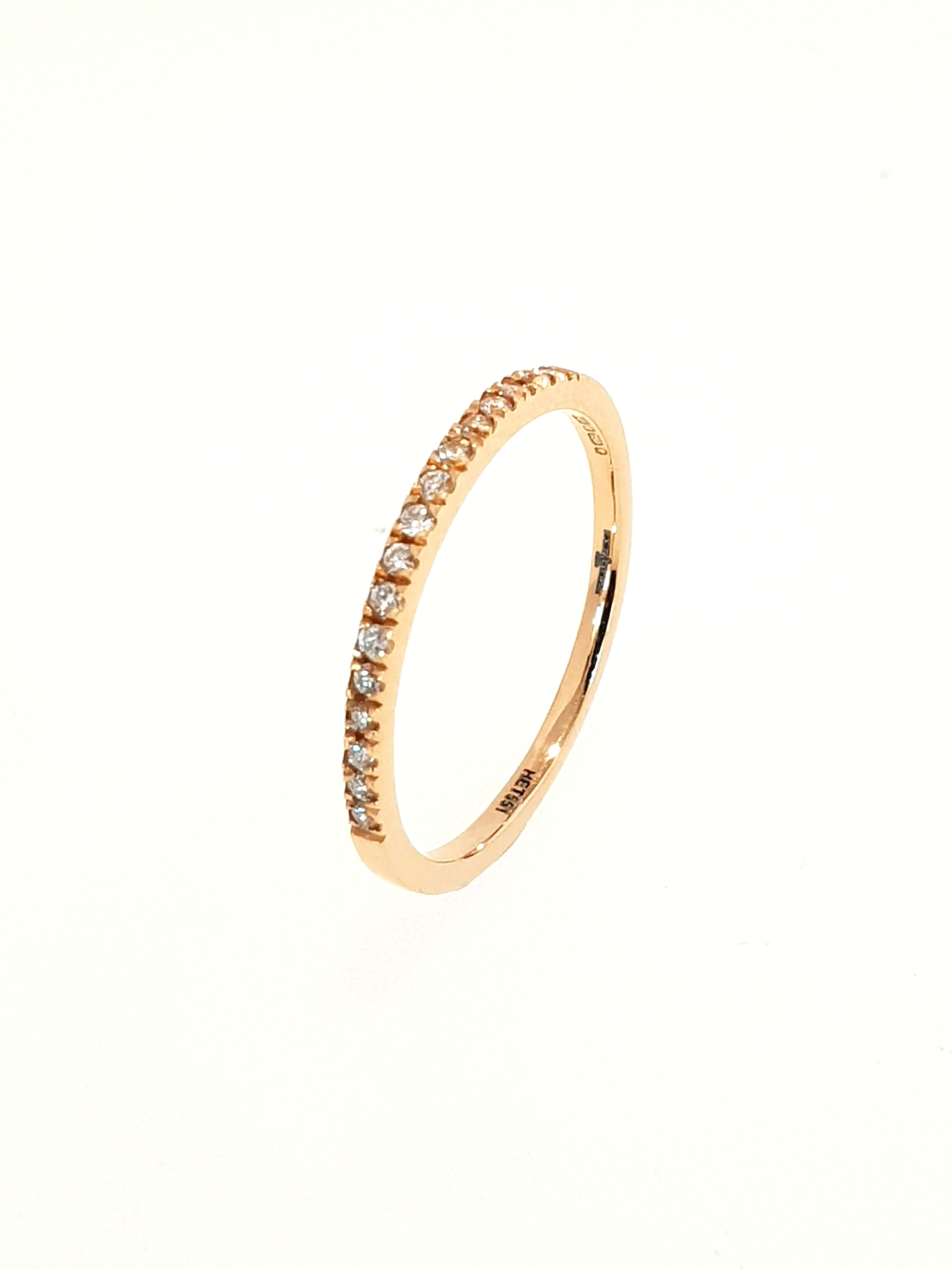 18ct Rose Gold Diamond Band