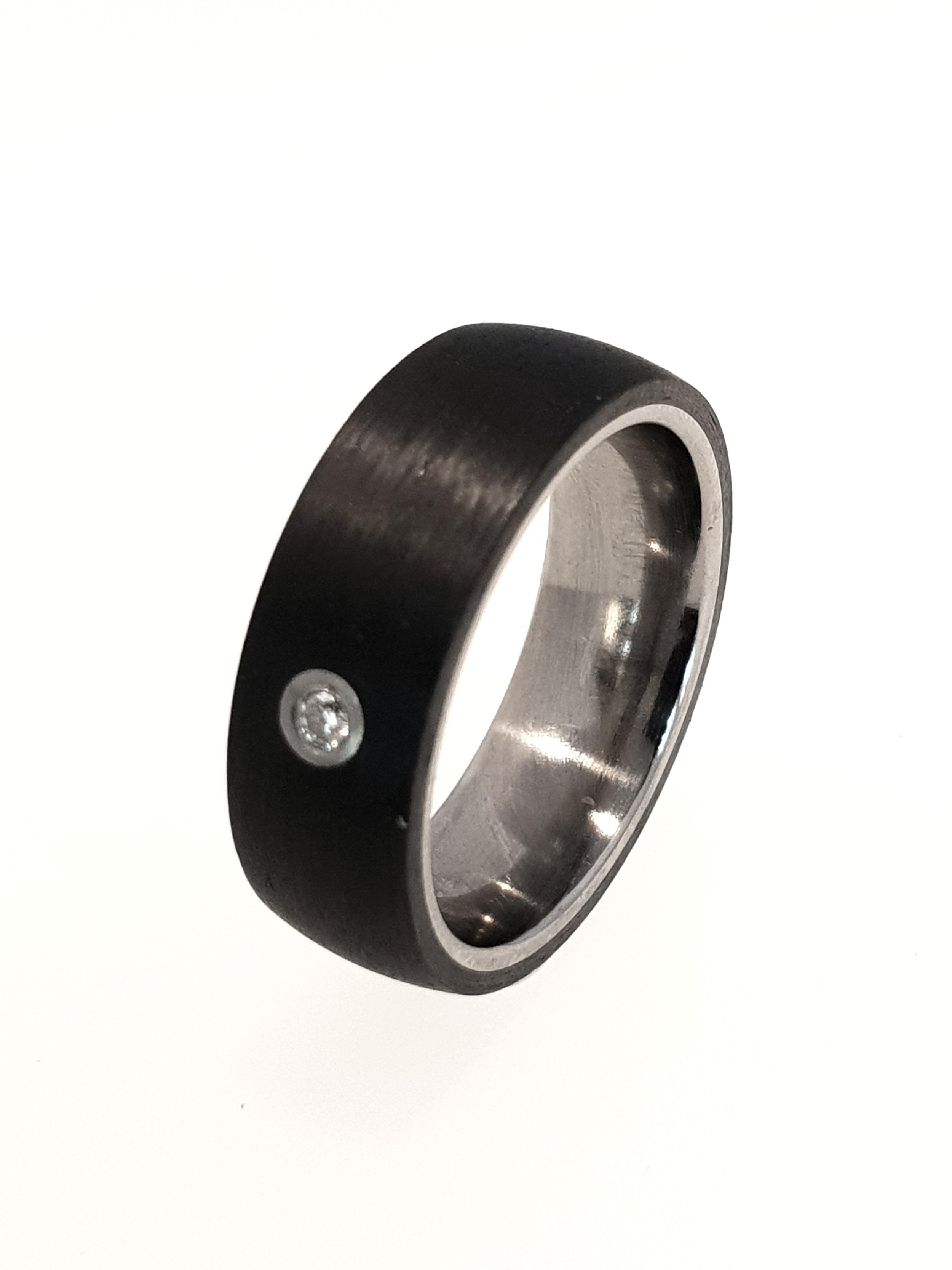 Carbon Fibre & Titanium Ring    Titan Factory (Model: 52483/000/000/2050)   Current Stock Size: O  Stock Code: E9812  £280