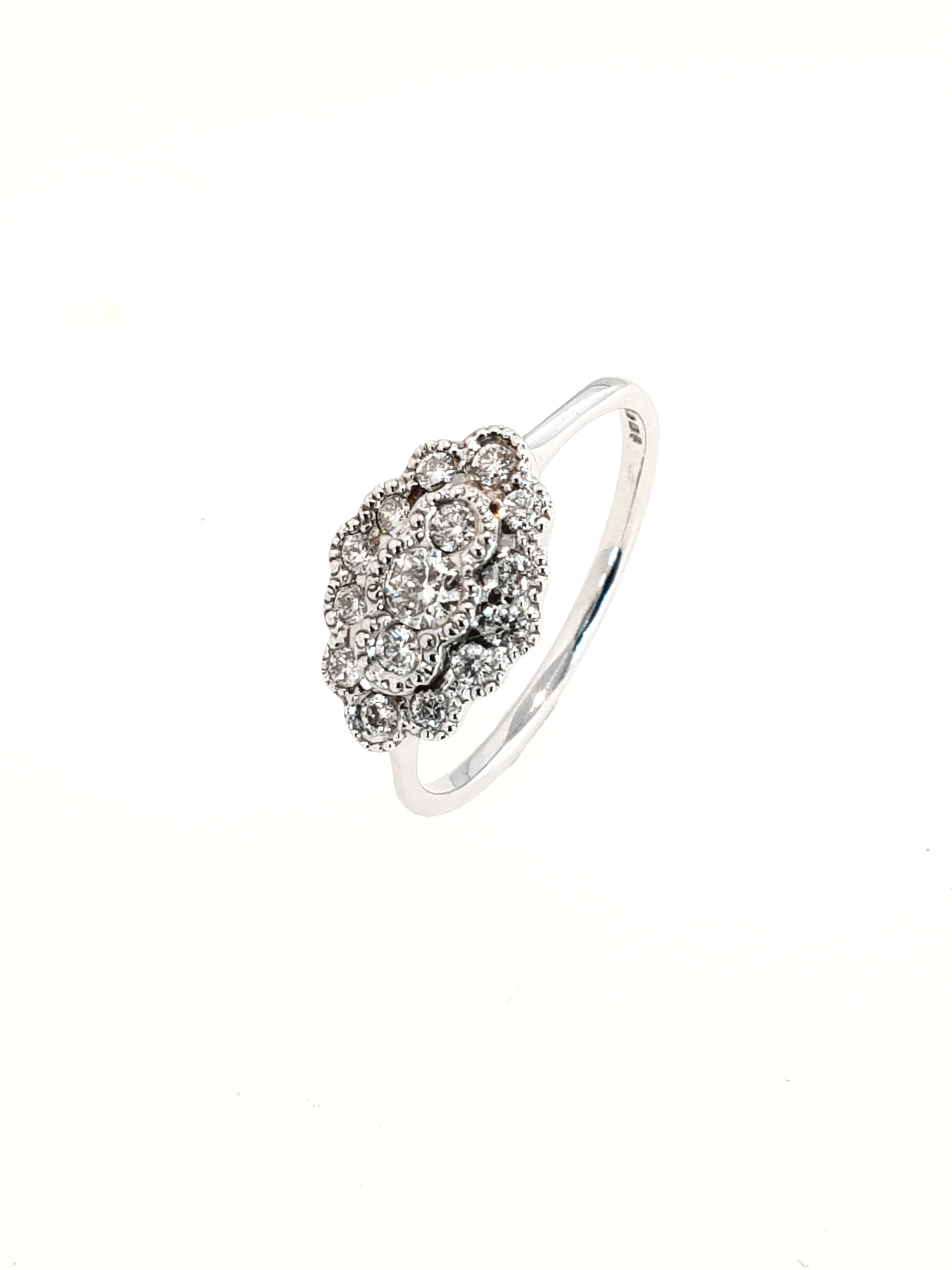 9ct White Gold Diamond Cluster Ring (.33ct)  Stock Code: G1934  £800