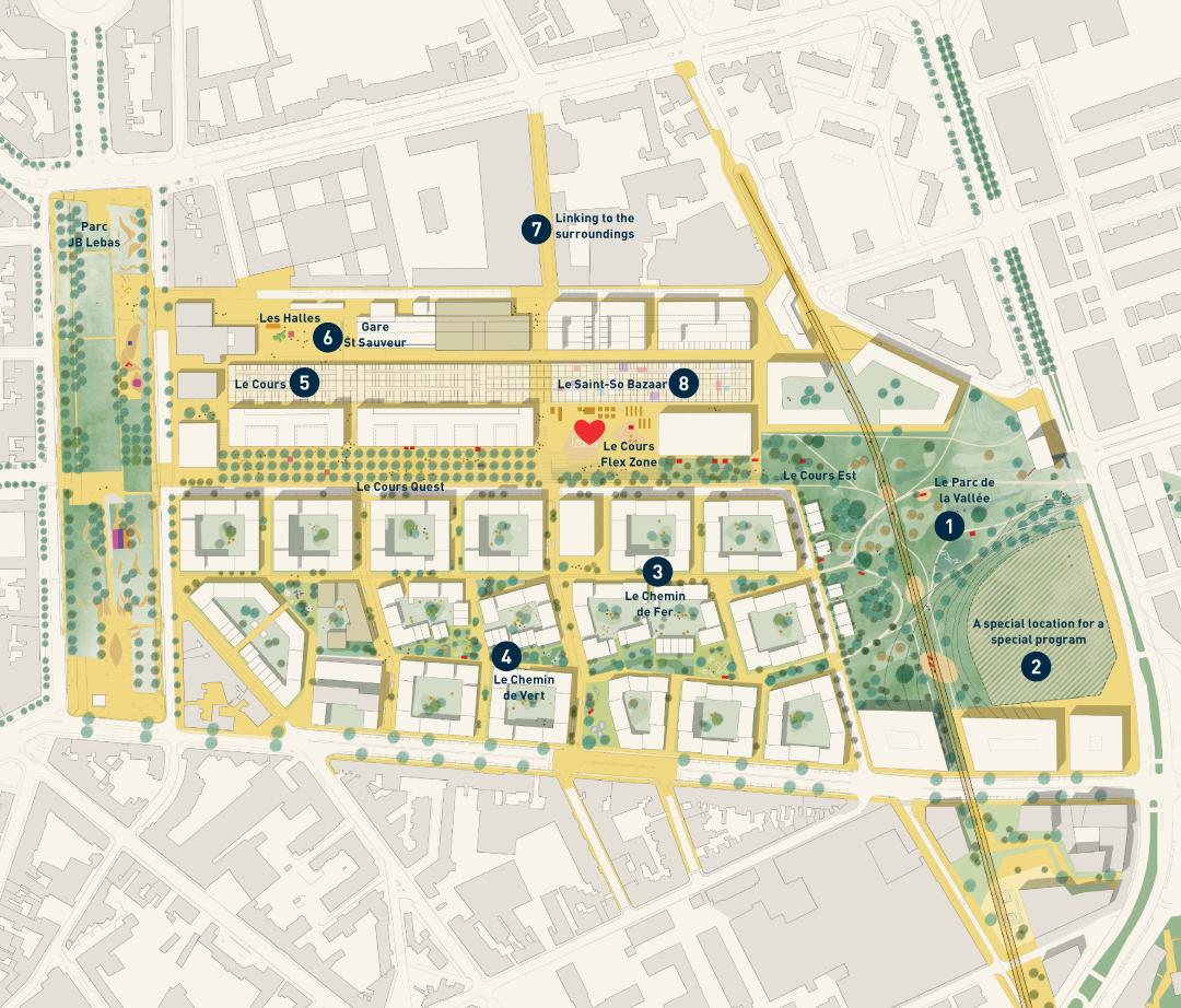 Plan masse de la Zac Saint Sauveur, Lille.