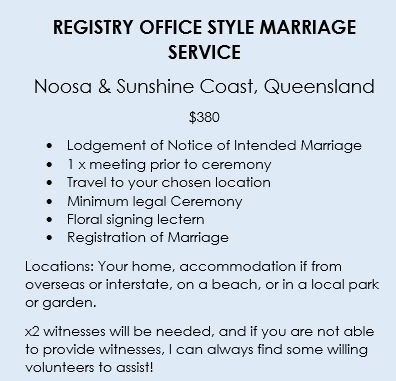 $380 Sunshine Coast Registry Style Wedding