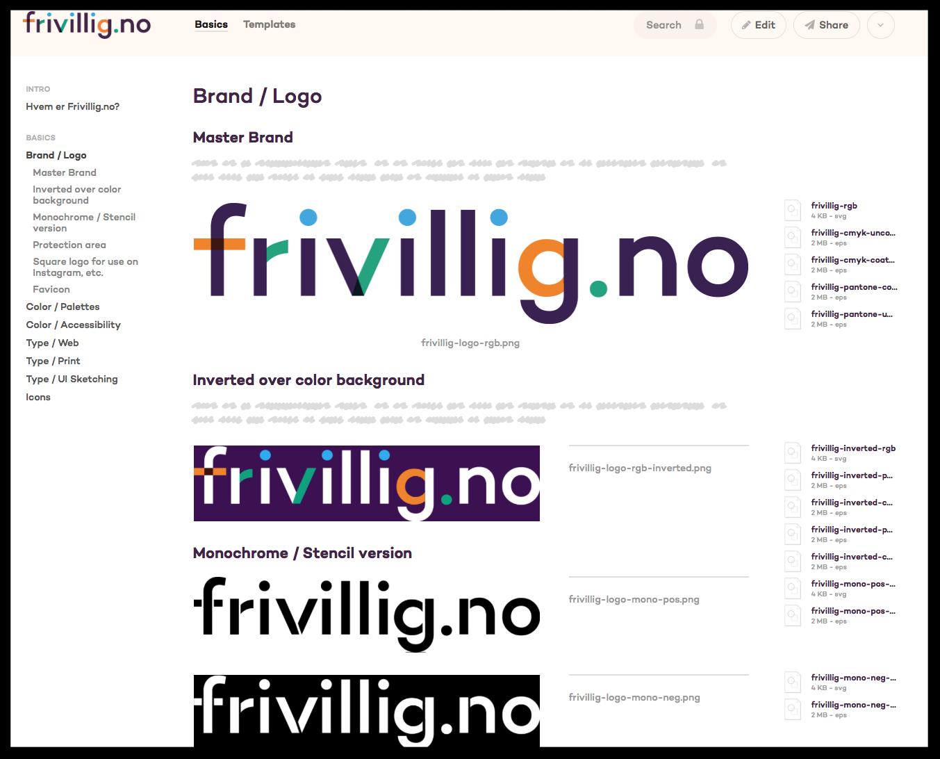 Komplett designhåndbok for Frivillig.no i Frontify
