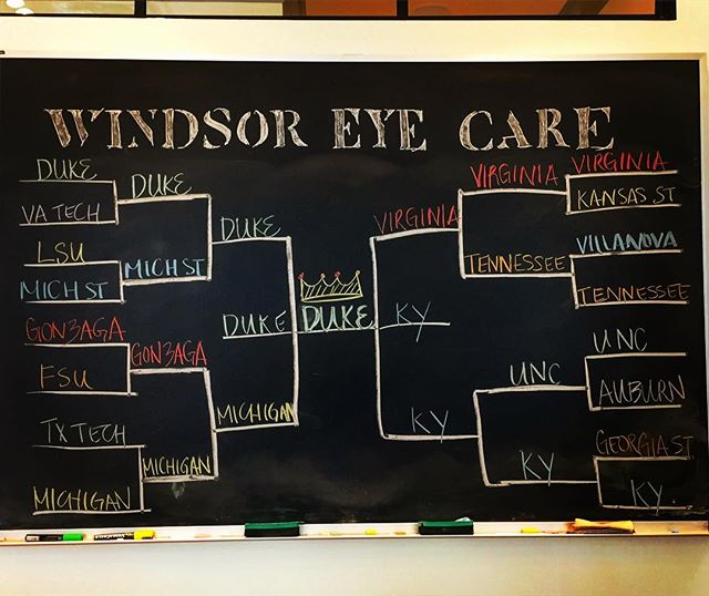 We've got our bracket up! Let the games begin 😎🏀 #marchmadness #collegehoops #windsoreyecare #istherealchampion #easyontheeyes