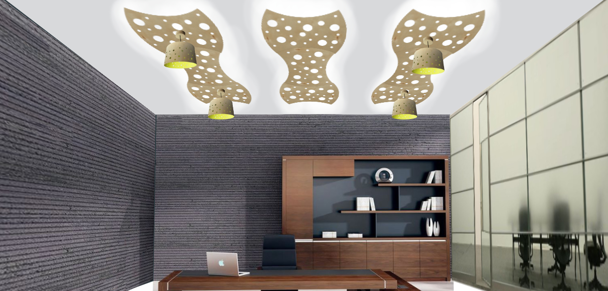 Sample ceiling of nine panels with white up light and four pendant lights with shades.