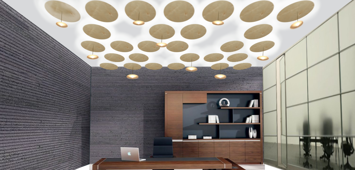 Sample ceiling with up light discs and small pendant light fittings.