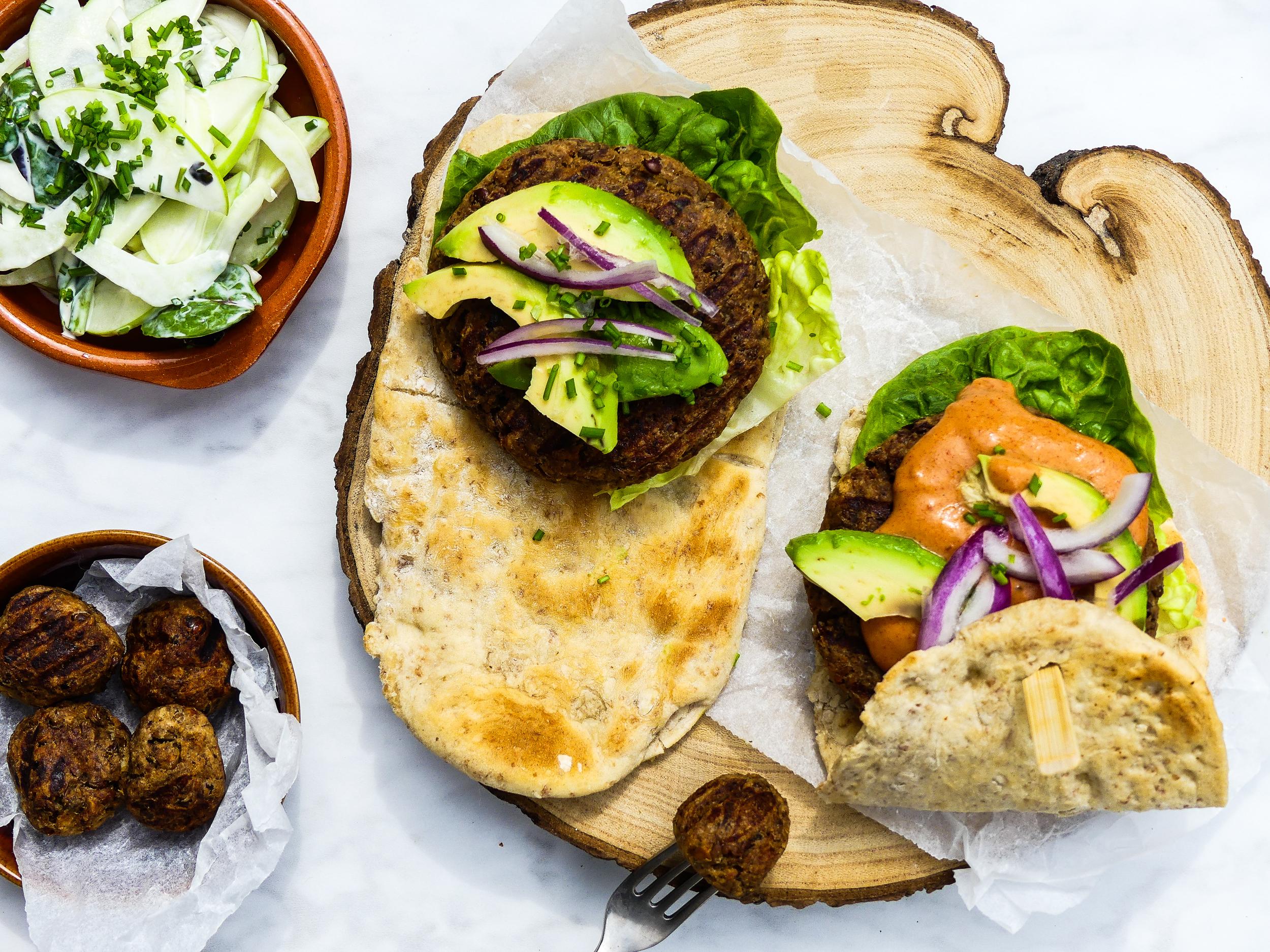 Fully Vegan, Chick Pea & Lentil Burger on self made pita bread!