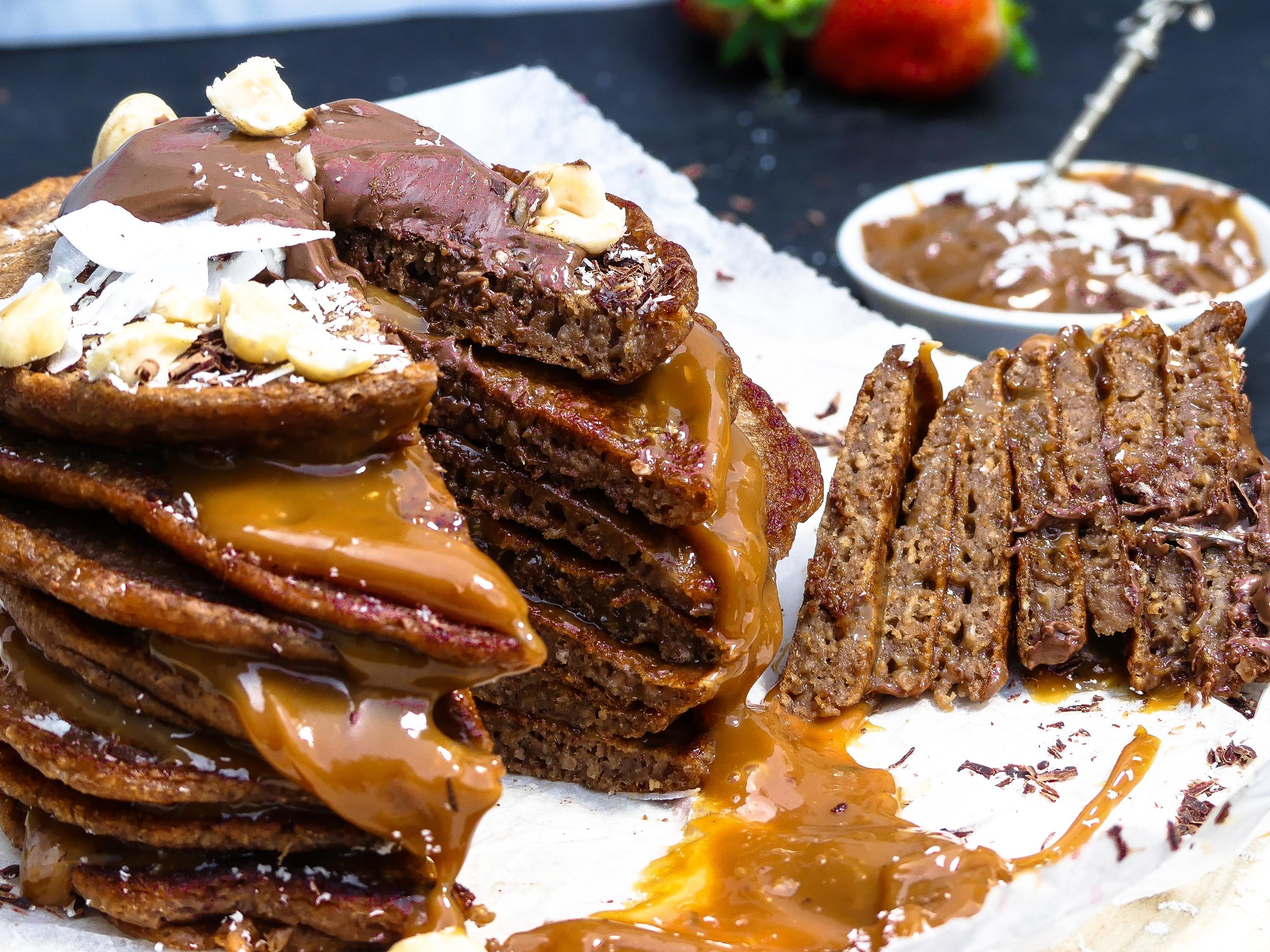 Goddelijke choco-karamel koffie pannenkoeken