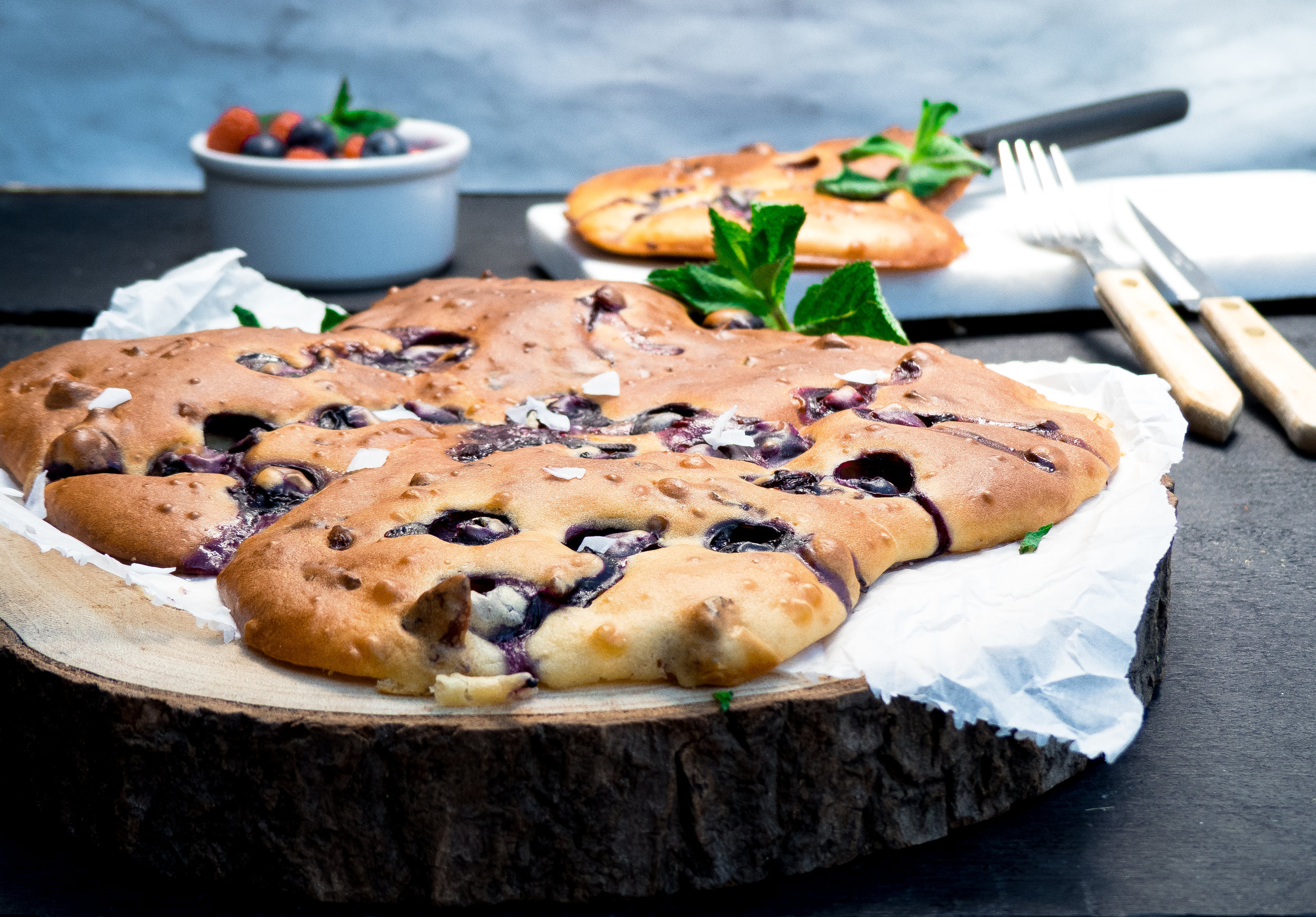 """Mislukte"" blauwe bessen kwarkbol achtige (pan) cake"