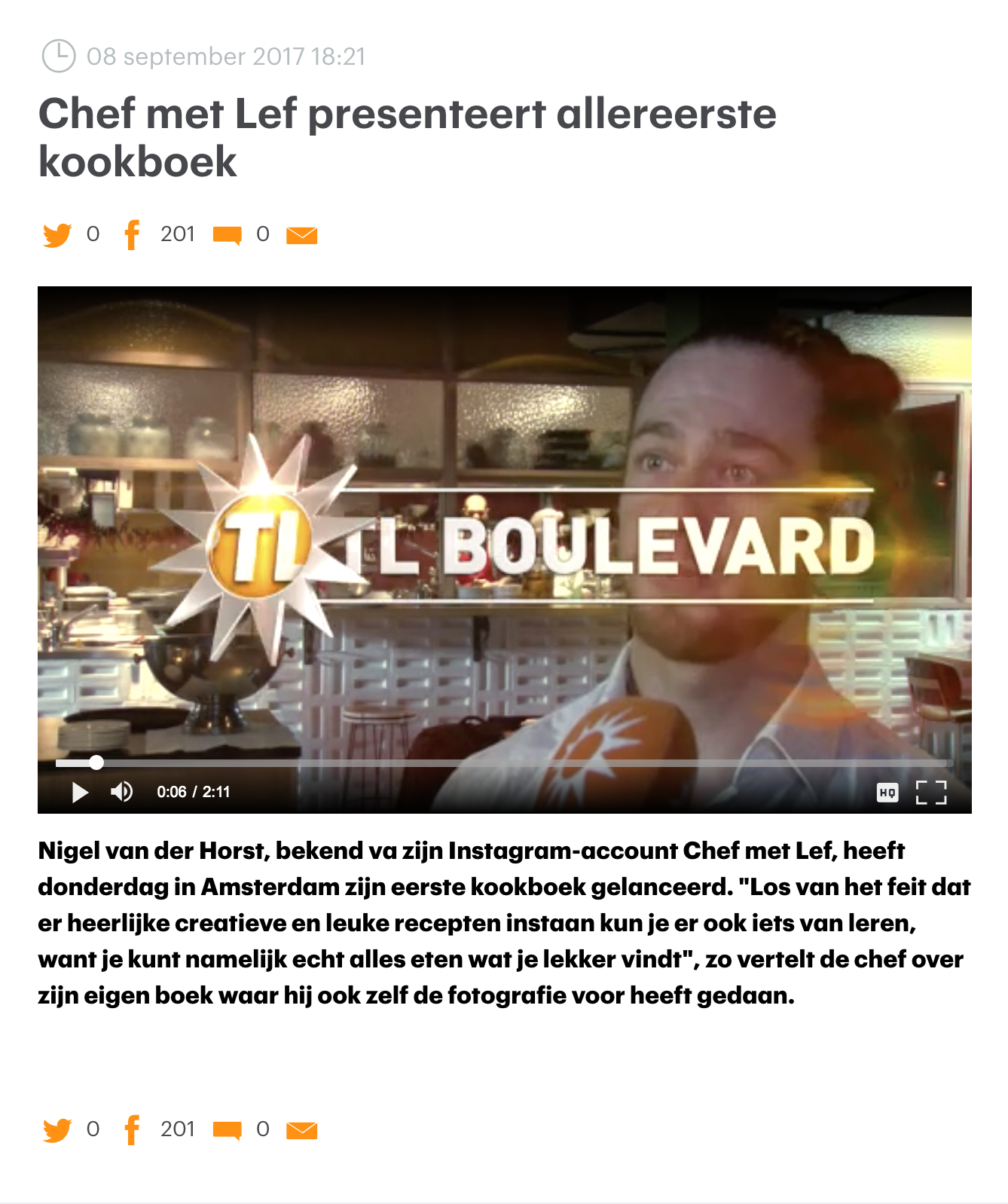 Video https://www.rtlnieuws.nl/boulevard/laatste-videos-boulevard/chef-met-lef-presenteert-allereerste-kookboek