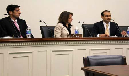 Samir Kalra, on the right, testifying in Washington, D.C. on the plight of Hindus in Kashmir.
