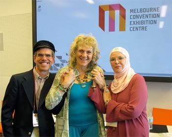 "A Quaker friend, Anthony Manoussos, and a Muslim friend, Noor Malikak Chishti, joined Ruth in presenting ""Listening with a Heart of Mercy"" at the 2009 Parliament of the World's Religions in Melbourne."
