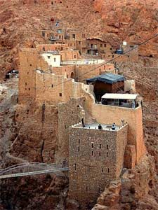 A portion of the Deir Mar Musa, the Monastery of St. Moses the Abyssinian, founded 1500 years ago, and located 50 miles north of Damascus in the Syrian mountains.