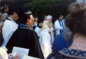 """Leaders from 19 traditions met in a """"Gathering of Blessings"""" when the Interfaith Chapel at the Presidio of San Francisco was dedicated October 1, 1995. Catholic and Protestant, Buddhist and Shinto, Hindu, Muslim, and Pagan and more offered blessings outdoors and in, each in their own tradition, respectively and joyfully."""